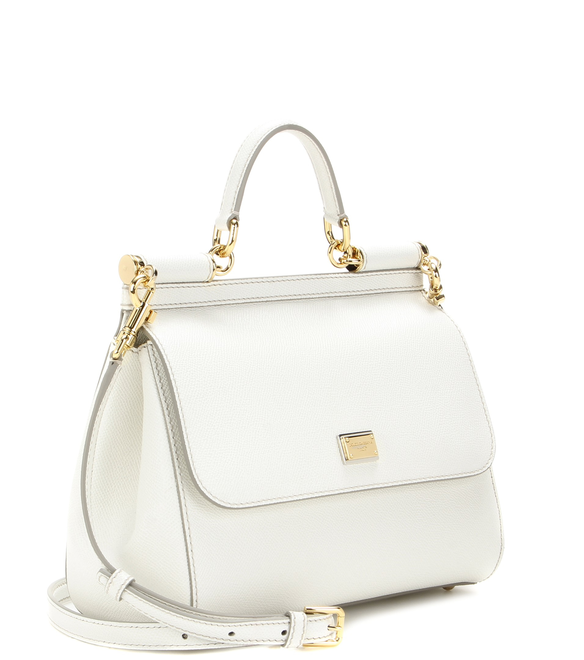 087d25b34f31 Lyst - Dolce   Gabbana Miss Sicily Medium Leather Shoulder Bag in White