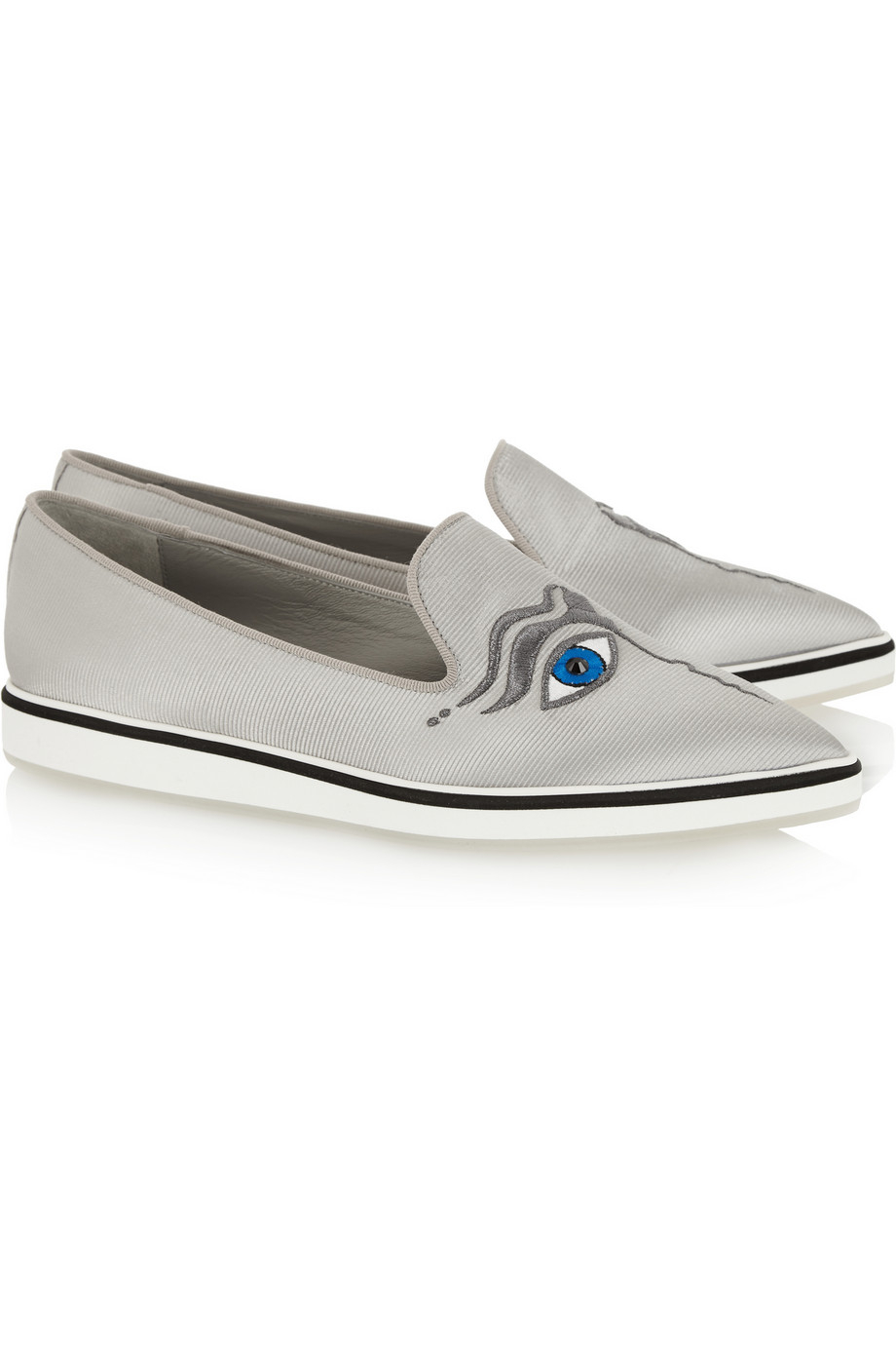 5226468a3843 Lyst - Nicholas Kirkwood Iris Embroidered Faille Point-Toe Flats in Gray