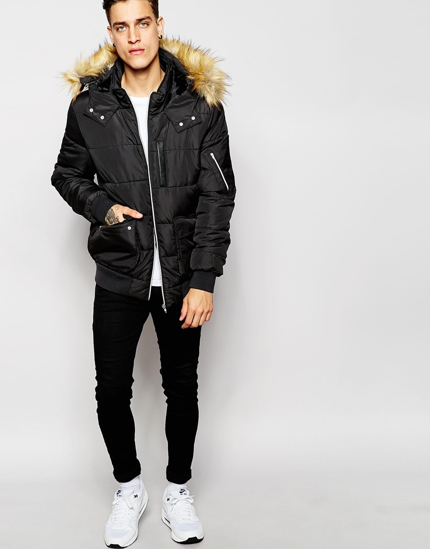 Asos Short Quilted Parka With Faux Fur Hood In Black in Black for ...