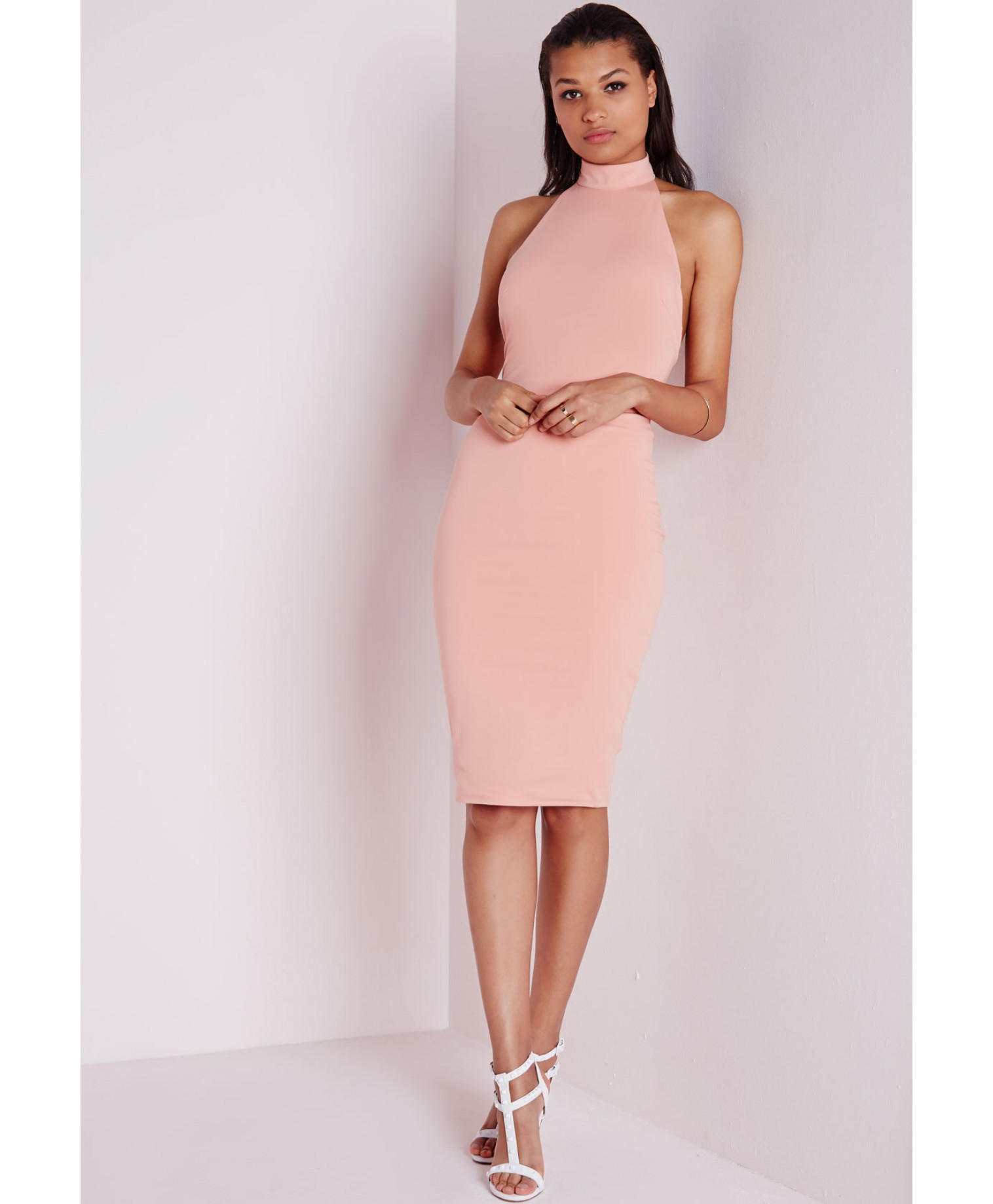 c4fb7598ef Lyst - Missguided High Neck Bodycon Dress Dusky Pink in Pink