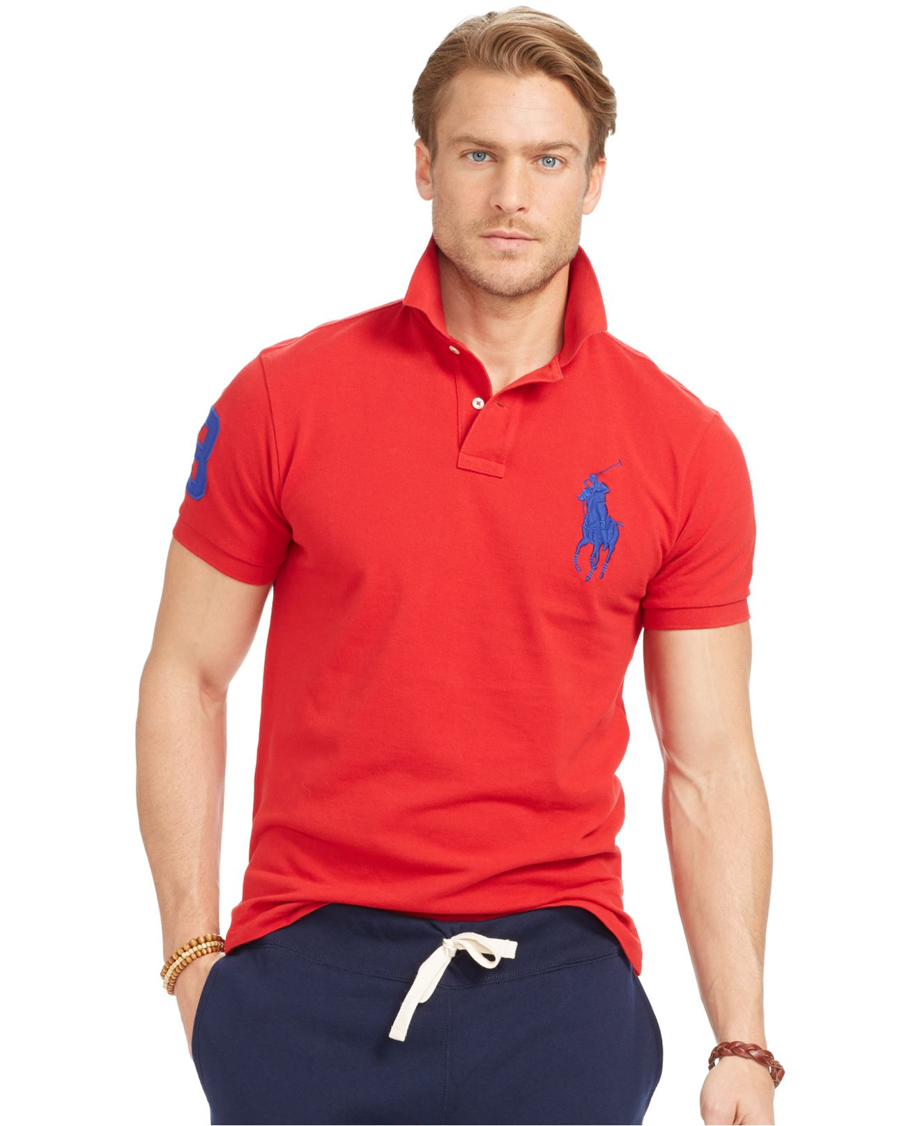 Polo ralph lauren men 39 s custom fit big pony mesh polo Man in polo shirt