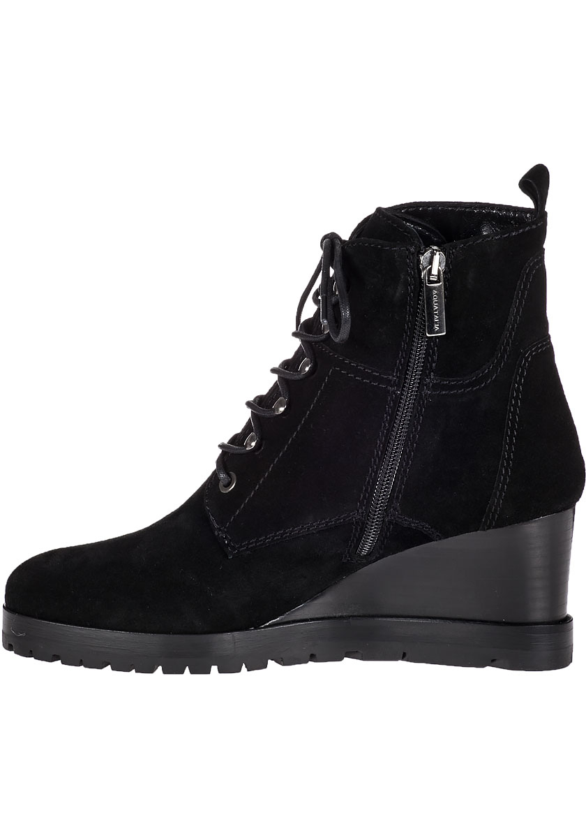 aquatalia chance wedge boot black suede in black lyst