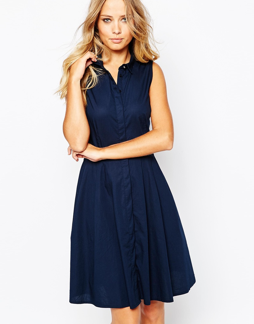Lyst y a s homie sleeveless shirt dress in blue for Sleeveless dress shirt womens