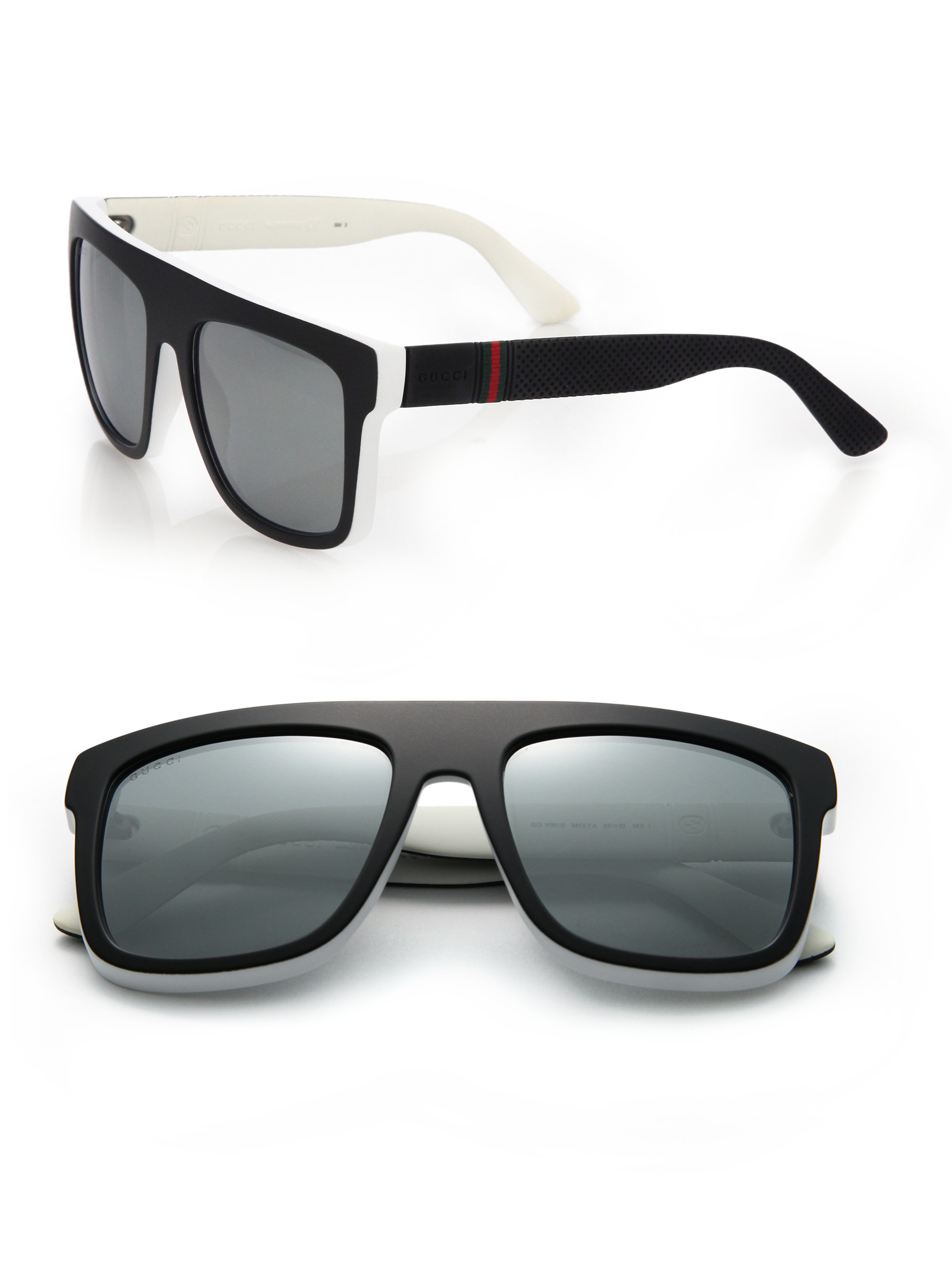 Gucci Mirrored Sunglasses  gucci 1116 s 55mm mirror rectangular sunglasses in black for men