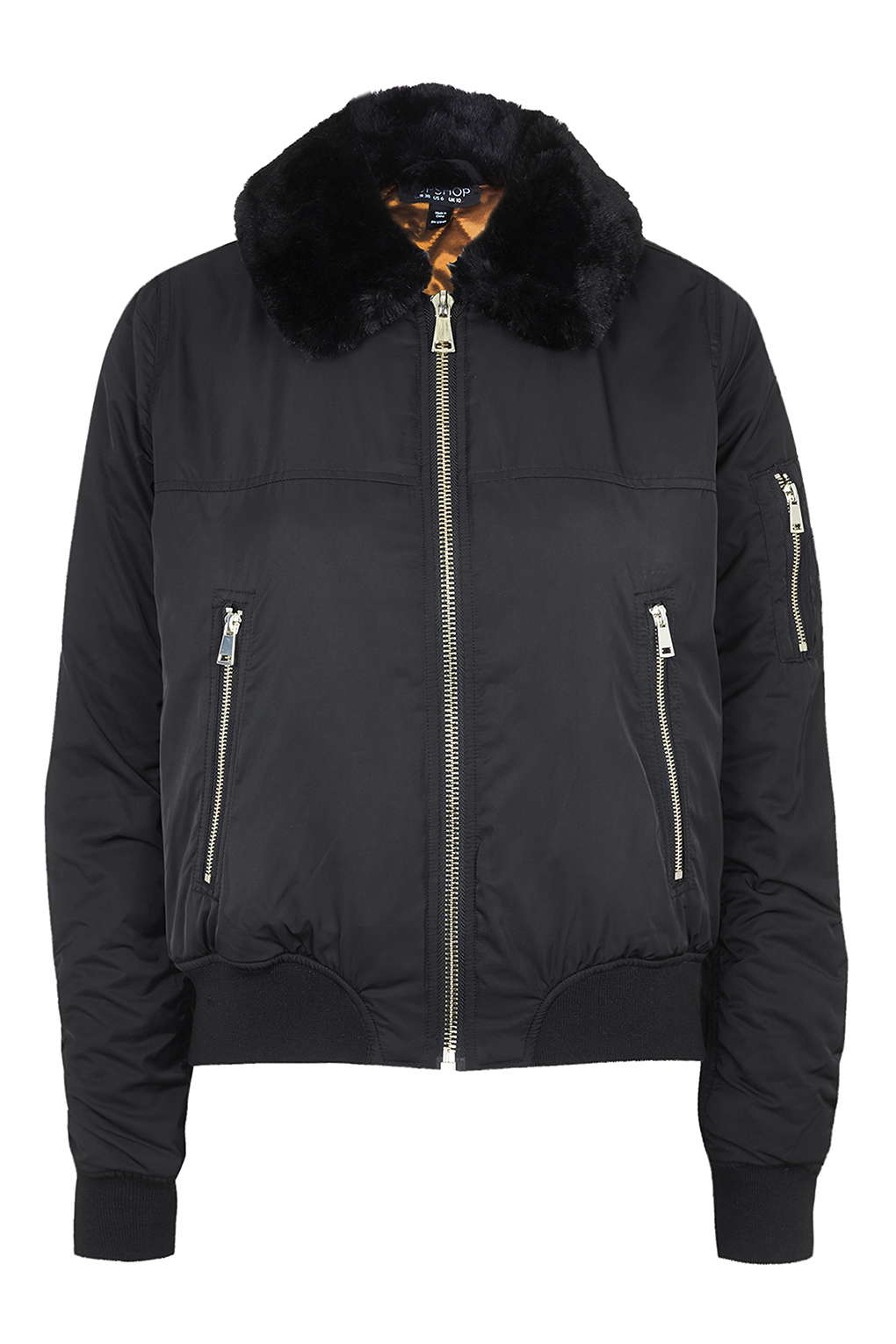 Topshop Tall Faux-fur Collar Ma1 Bomber Jacket in Black   Lyst