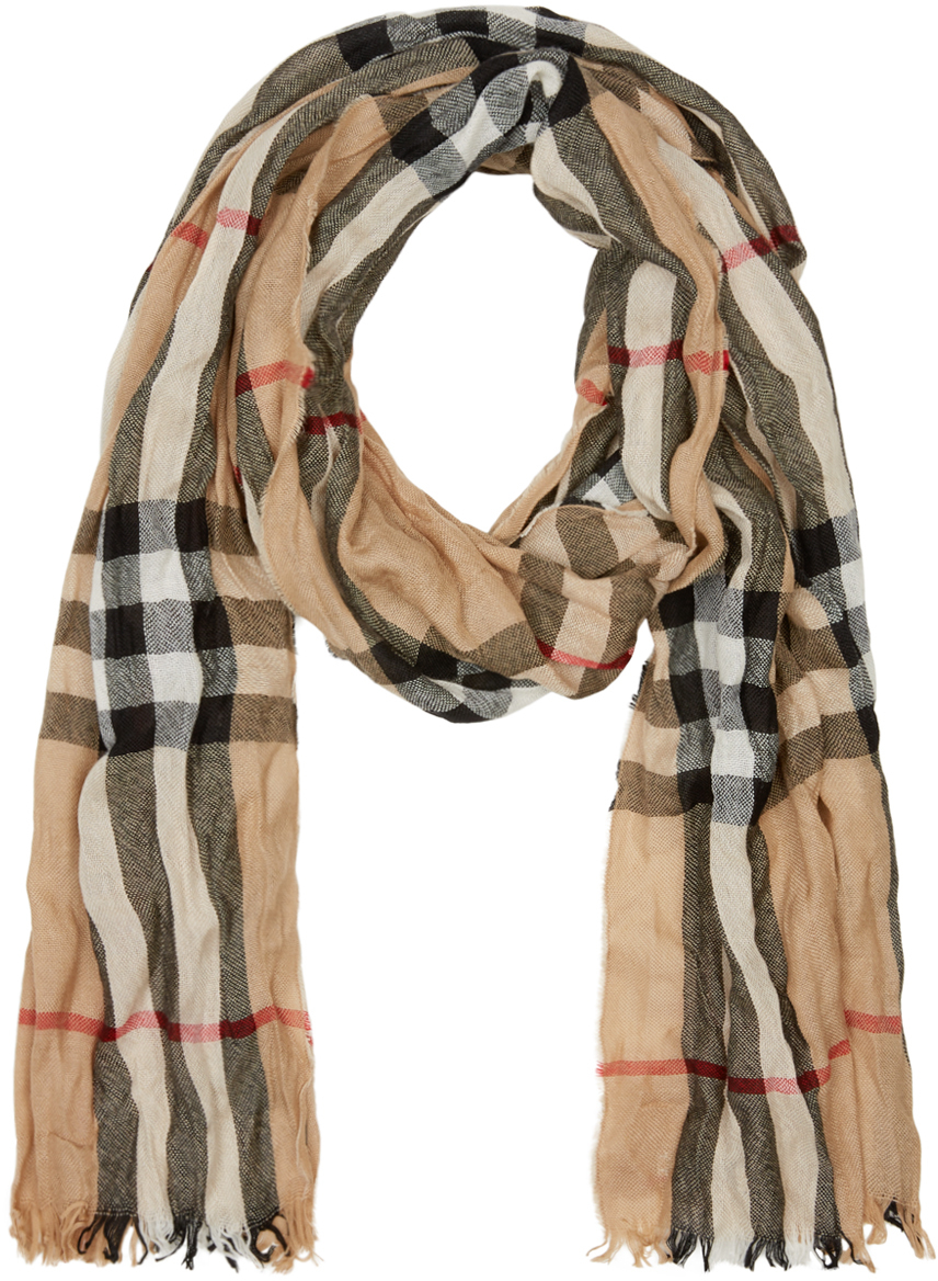 2e0fb554d69 store wool scarf mens burberry scarf 74487 a912b  official burberry beige  check crinkle scarf in natural for men lyst ea106 dc95f