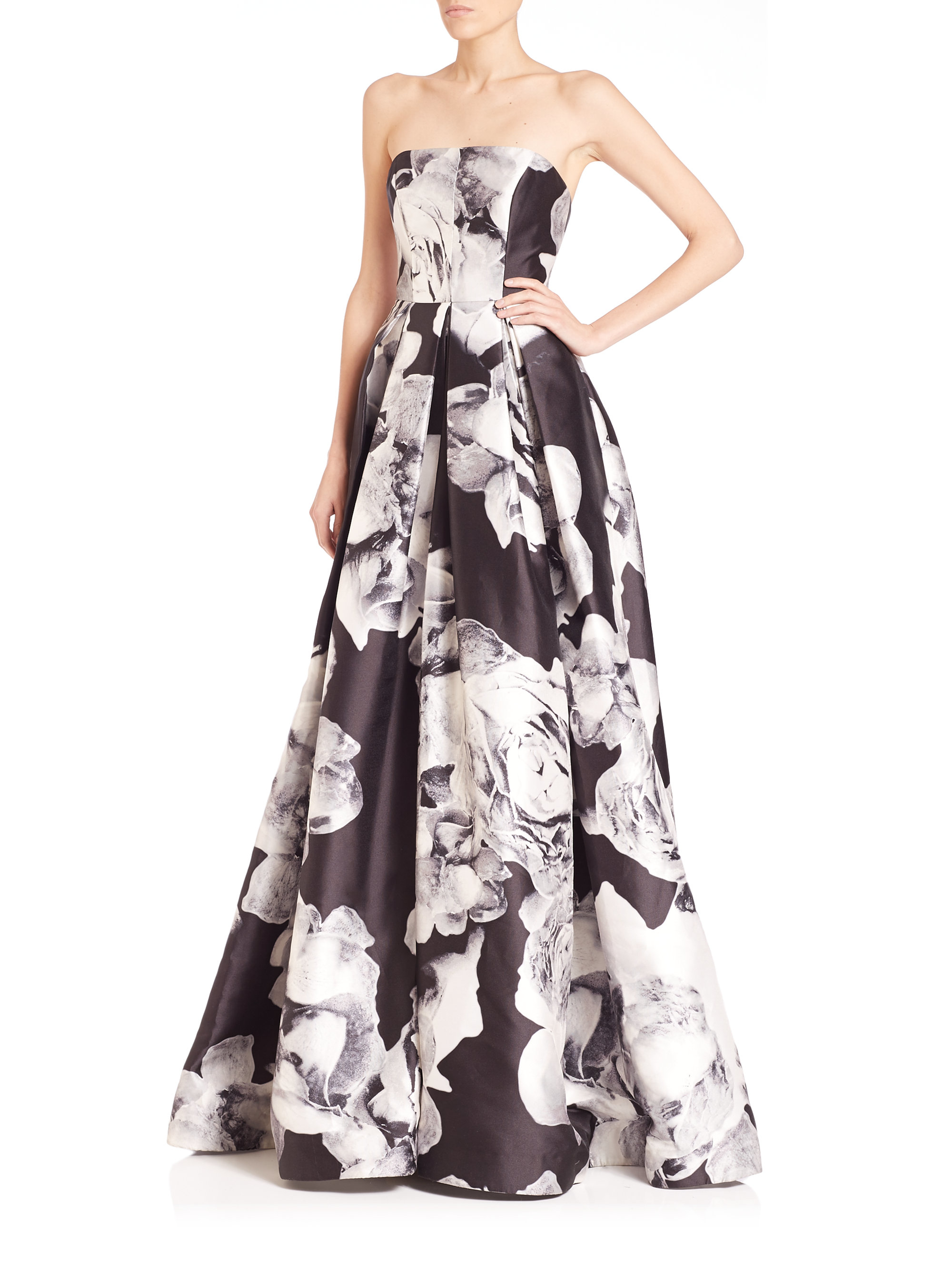 Floral Print Jacquard Gown Monique Lhuillier On Hot Sale With Mastercard cGjFMfO