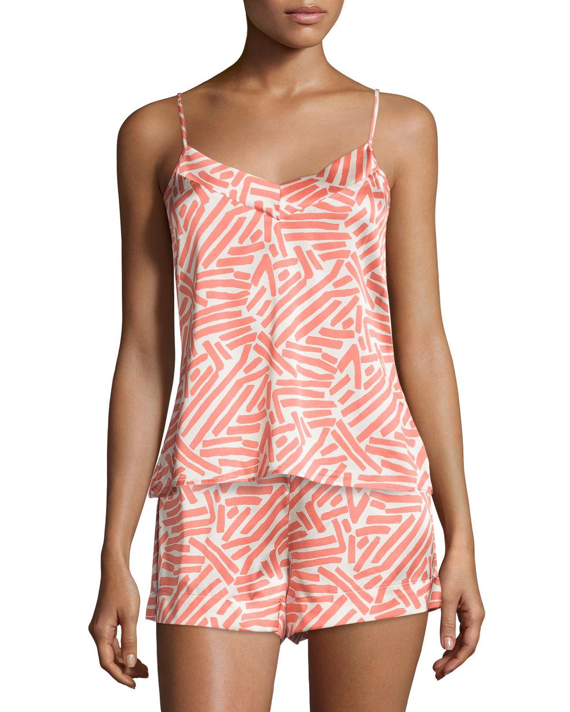 Hanro Mila Silk Lounge Camisole in Orange (LOBSTER PRINT ...