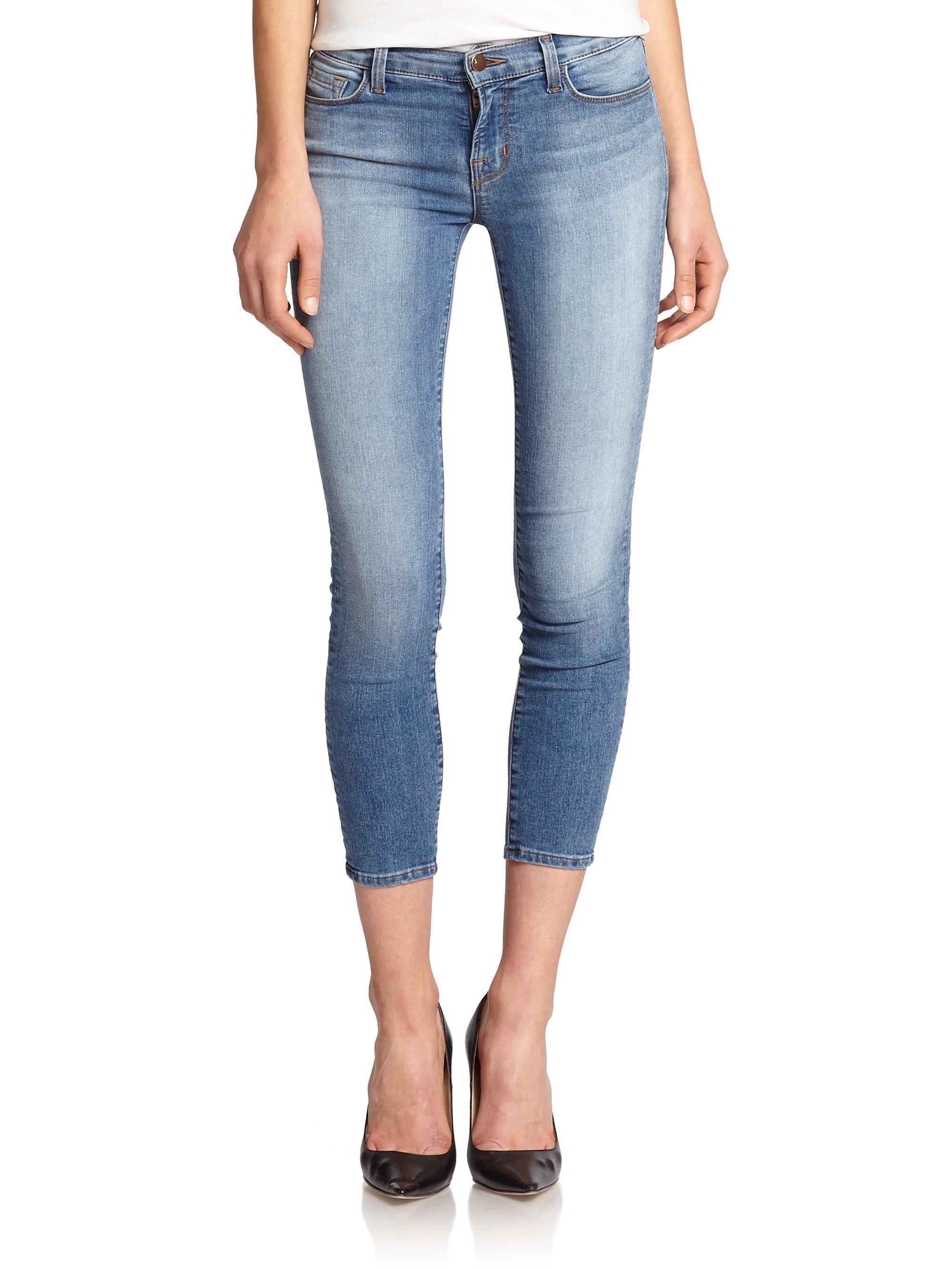 j brand blue mid rise cropped skinny jeans lyst. Black Bedroom Furniture Sets. Home Design Ideas