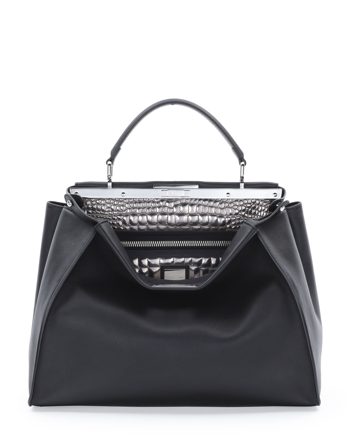 00e57906df Lyst - Fendi Peekaboo Large Croc-Stitched Satchel Bag in Black