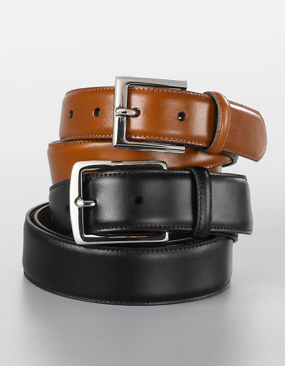 by ralph genuine leather dress belt in black