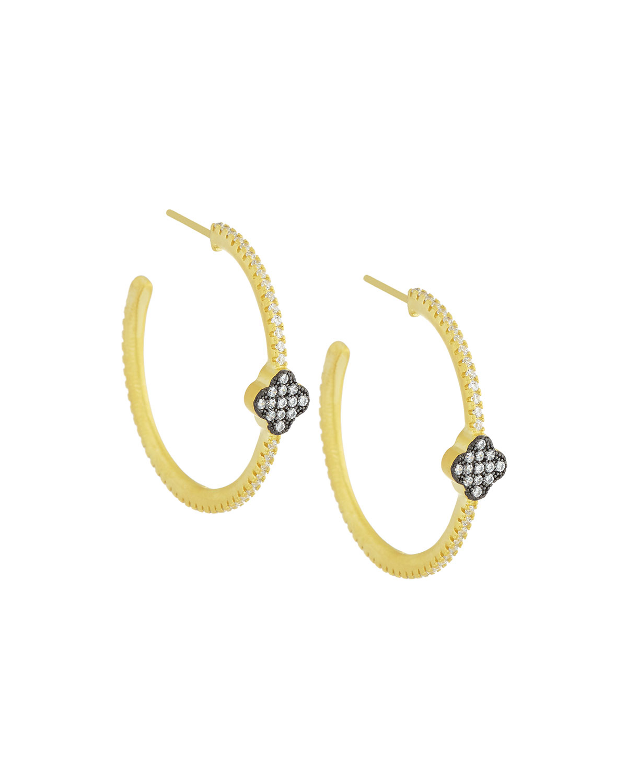 Freida Rothman Crystal Clover Hoop Earrings Fg4h04Zi