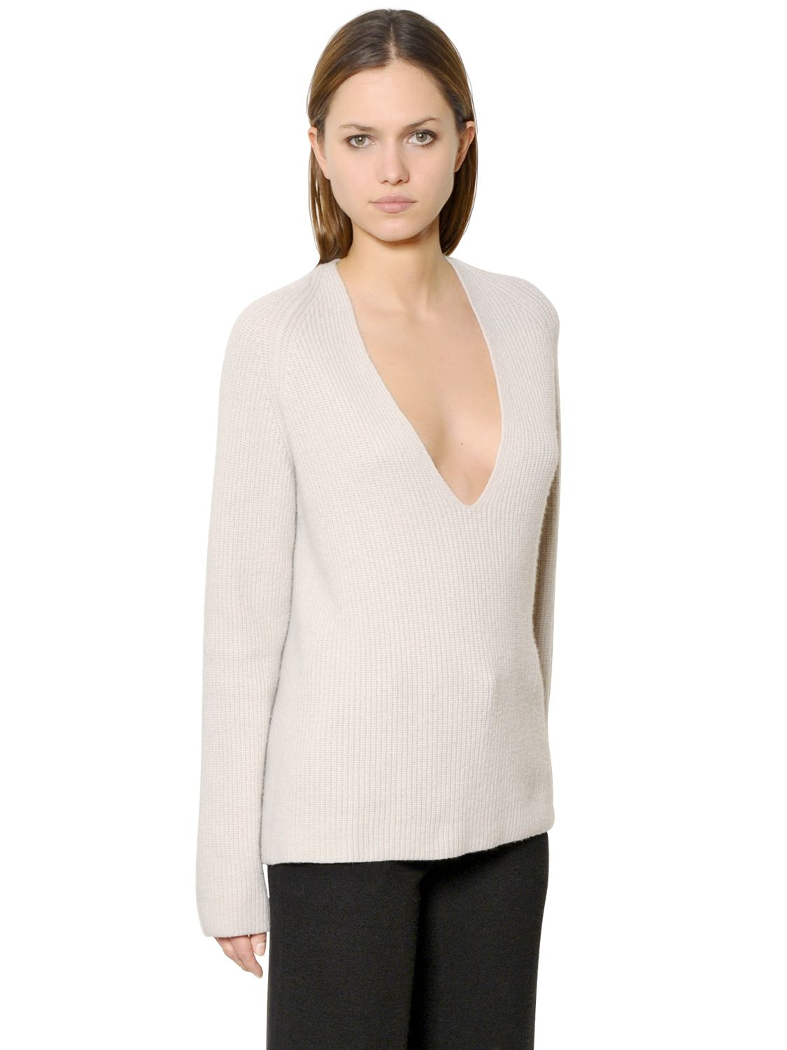 Helmut Lang Deep V Neck Wool Amp Cashmere Sweater In Pink Lyst