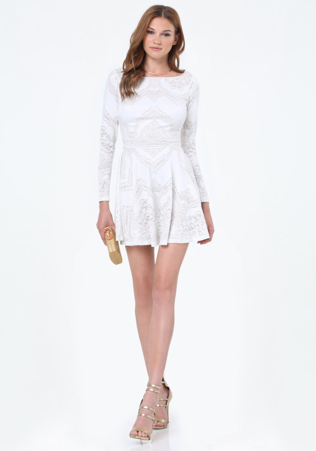 Bebe Lace Open Back Dress In White Lyst