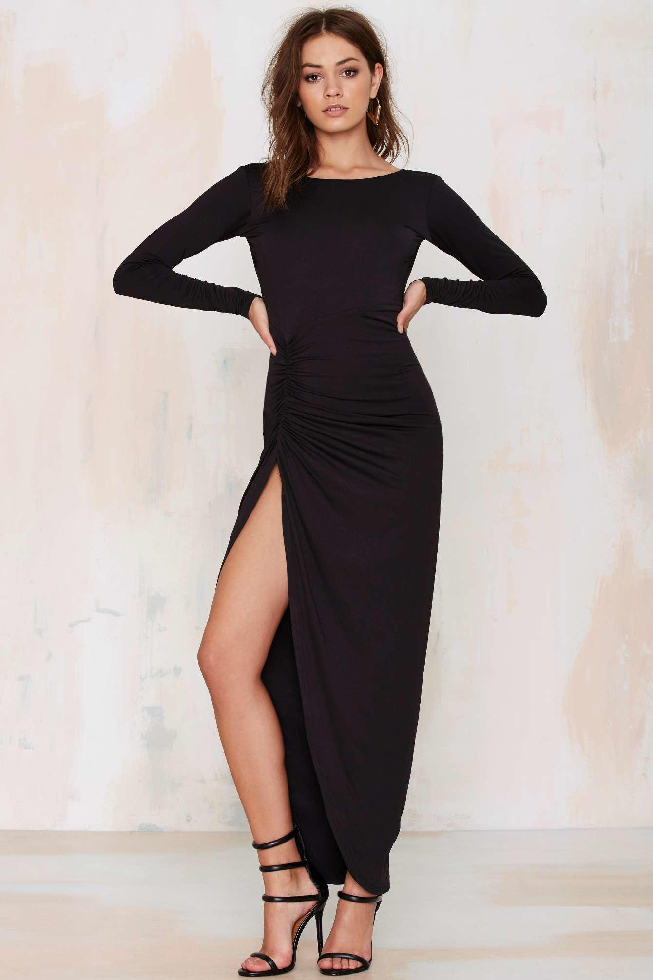 Lyst Lioness Found Love Slit Dress Black In Black