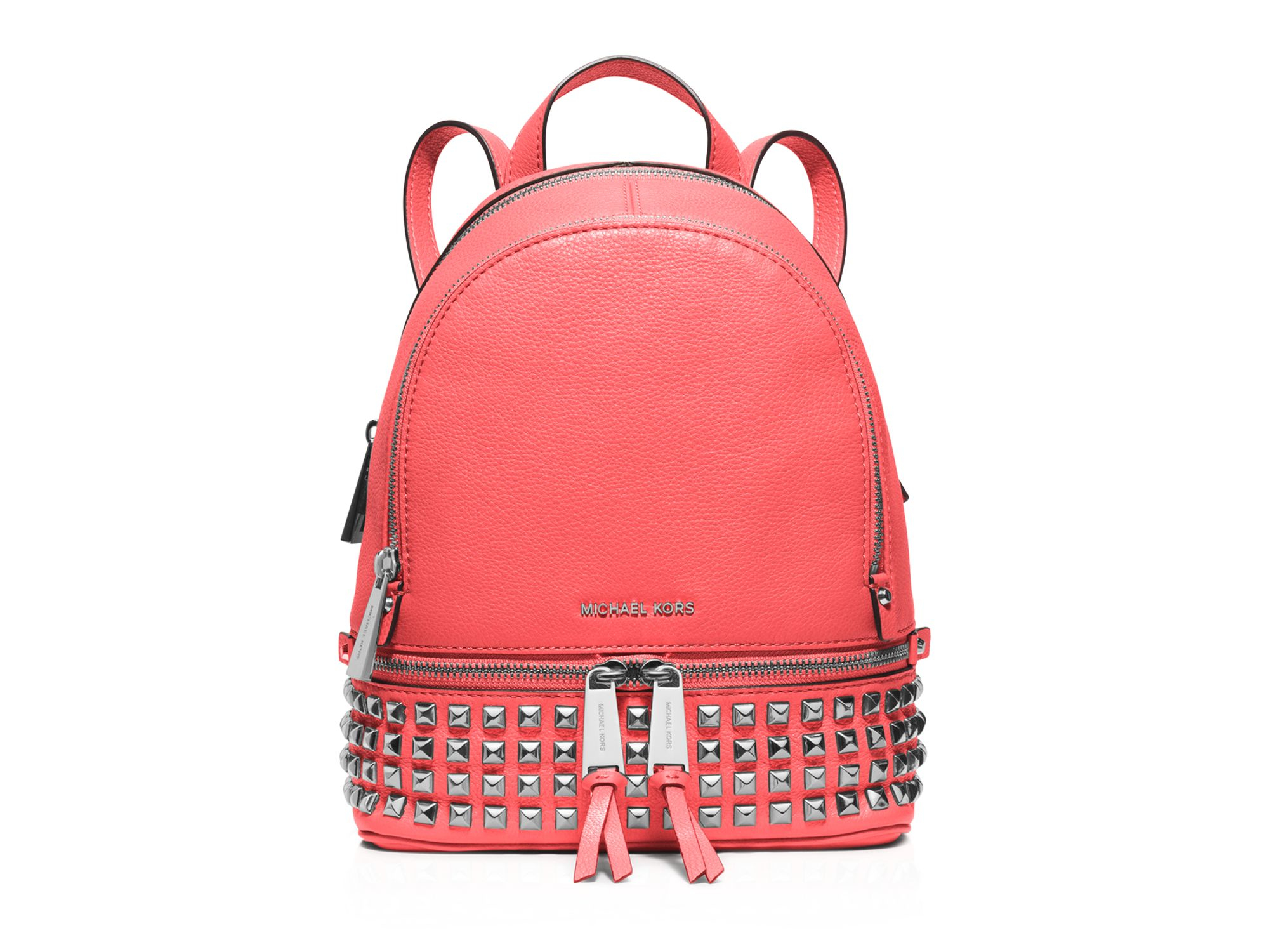 e06cdcc9a466 ... shop lyst michael michael kors extra small rhea zip backpack in pink  83ada d2c11