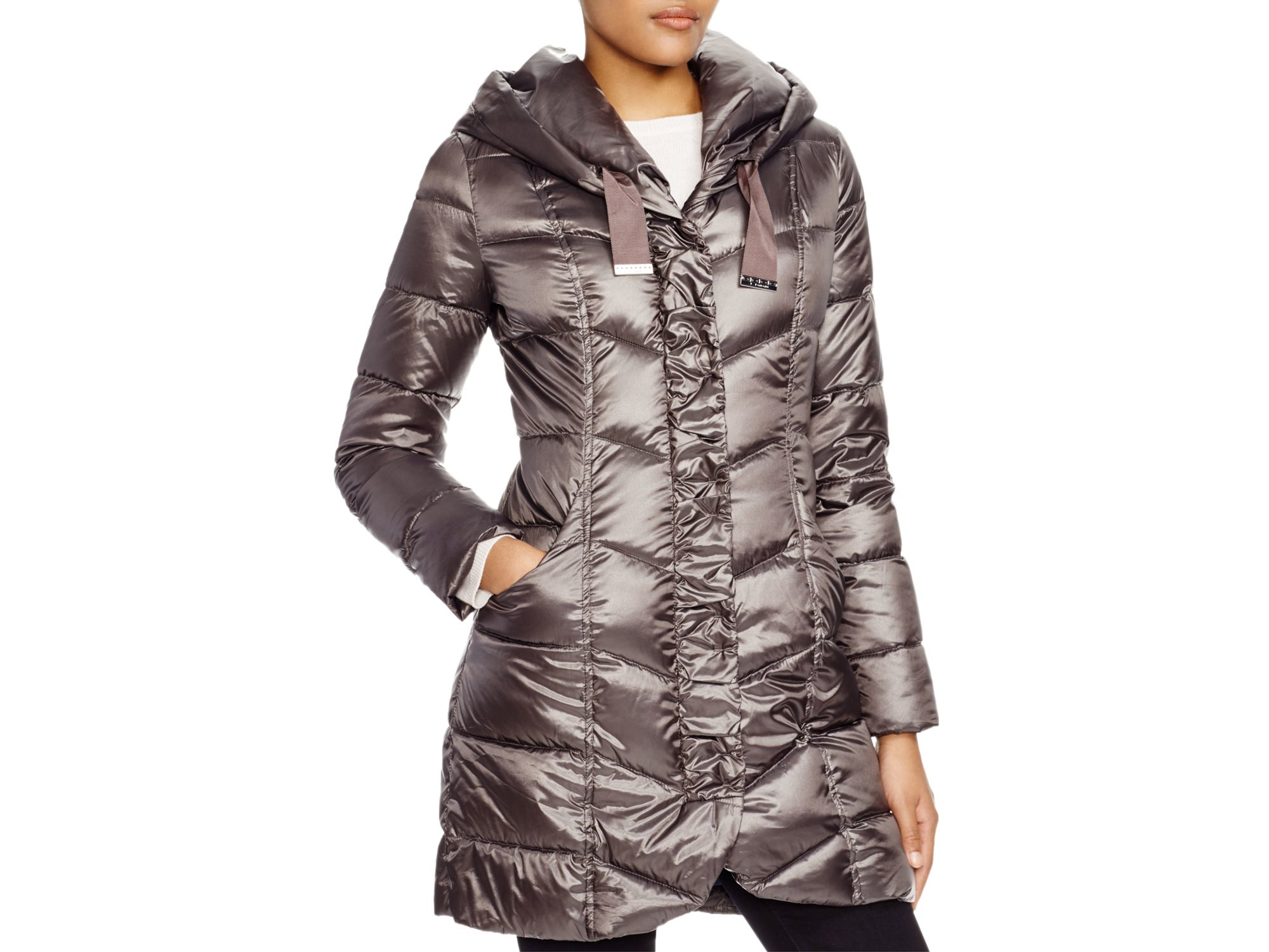 Lyst - T tahari Giselle Quilted Down Coat in Purple : down quilted coats - Adamdwight.com