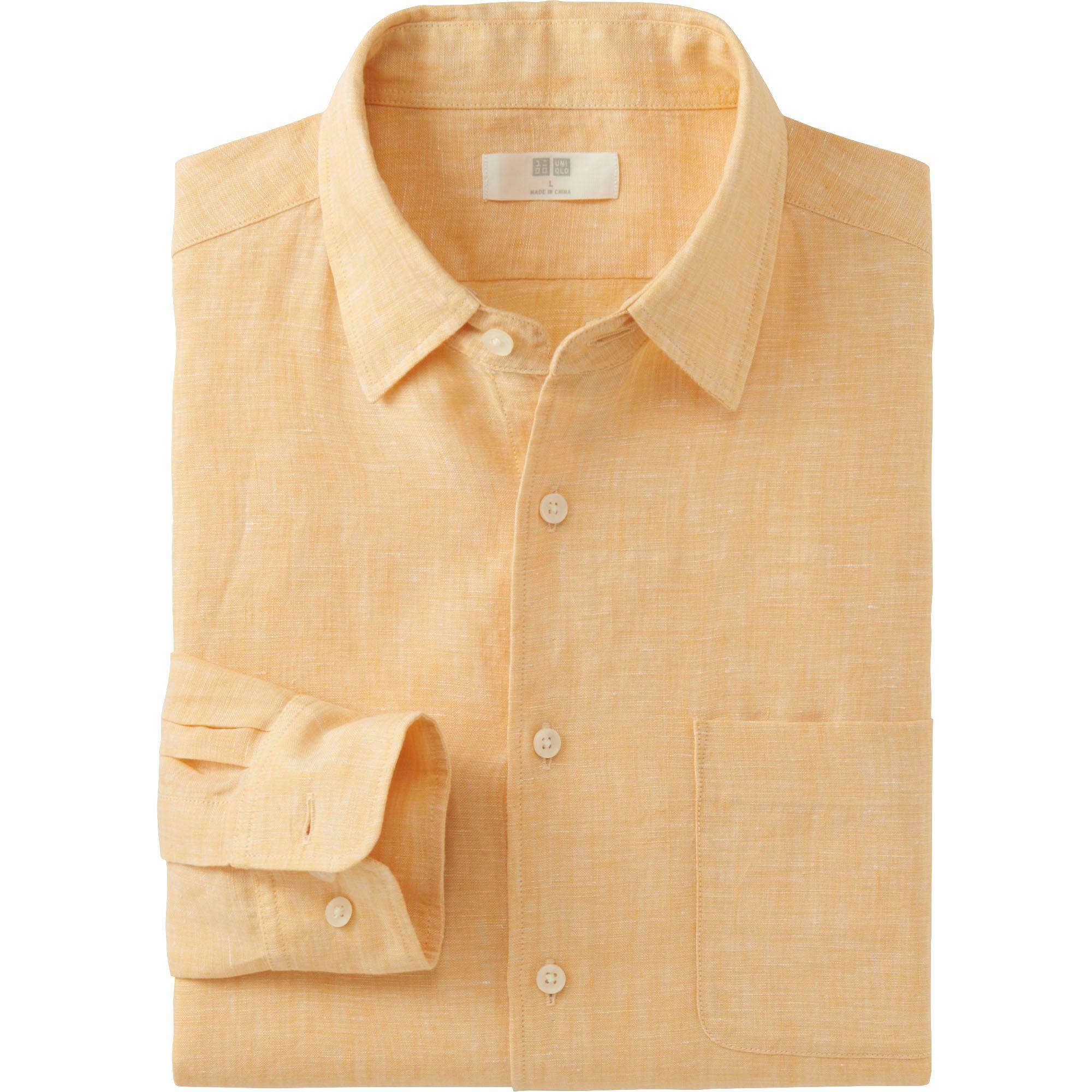 Uniqlo men premium linen long sleeve shirt in yellow for for Linen long sleeve shirt