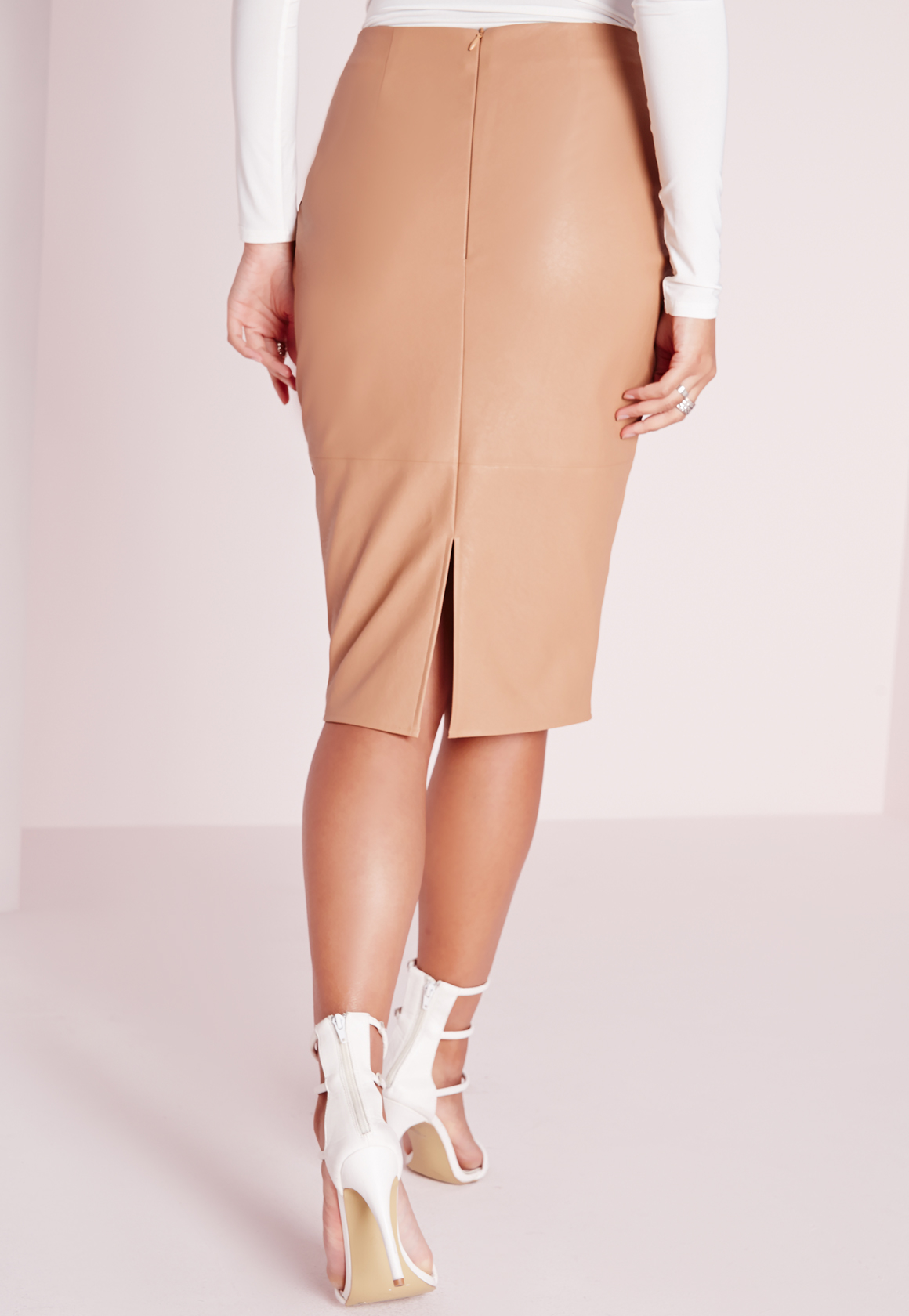 missguided faux leather seam detail midi skirt camel in