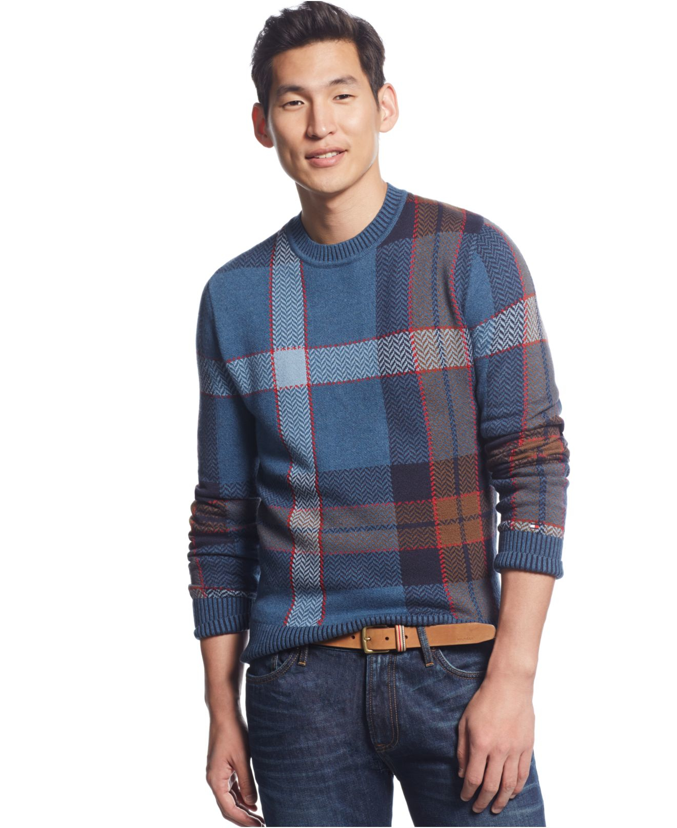 Tommy hilfiger Big & Tall John Plaid Sweater in Blue for Men | Lyst