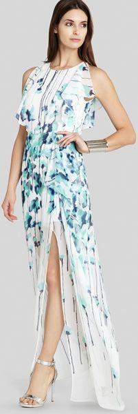 Bcbgmaxazria bcbg max azria gown floral print flutter in white aqua