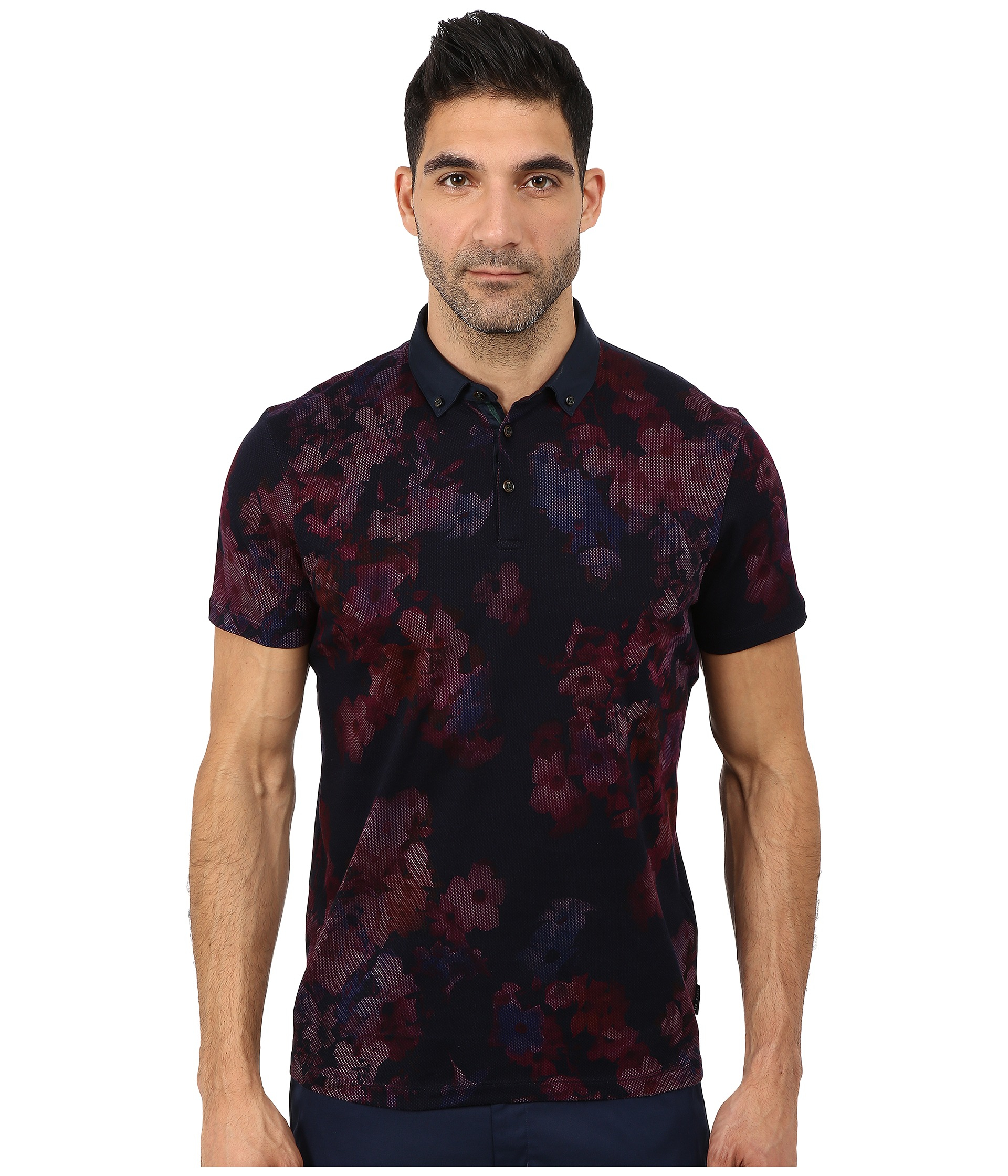 a3951a1b6484ca Lyst - Ted Baker Perpool Digital Floral Printed Short Sleeve Polo in ...
