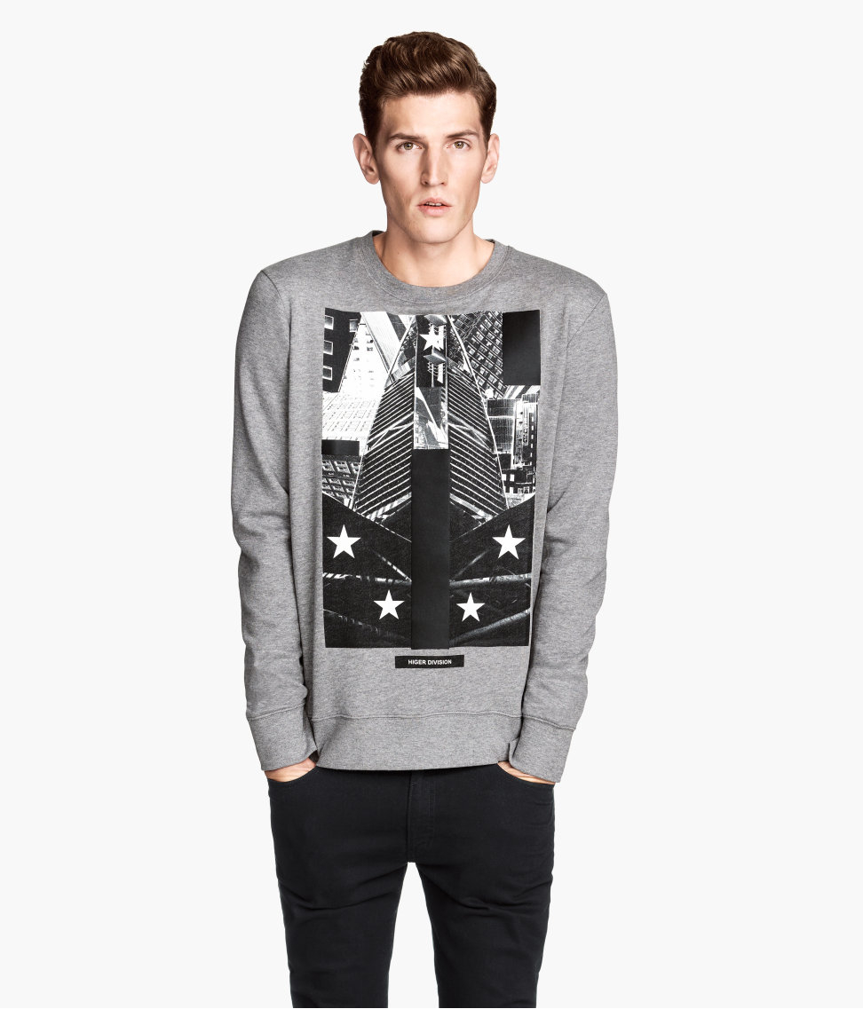 2066d738 H&M Sweatshirt With A Print in Gray for Men - Lyst