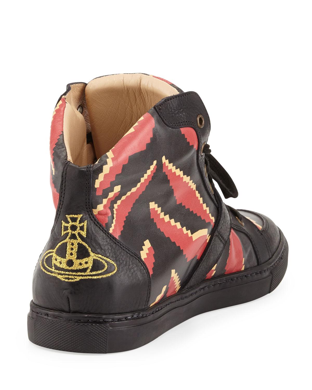 Vivienne Westwood Tigerprint Hightop Sneakers In Red For