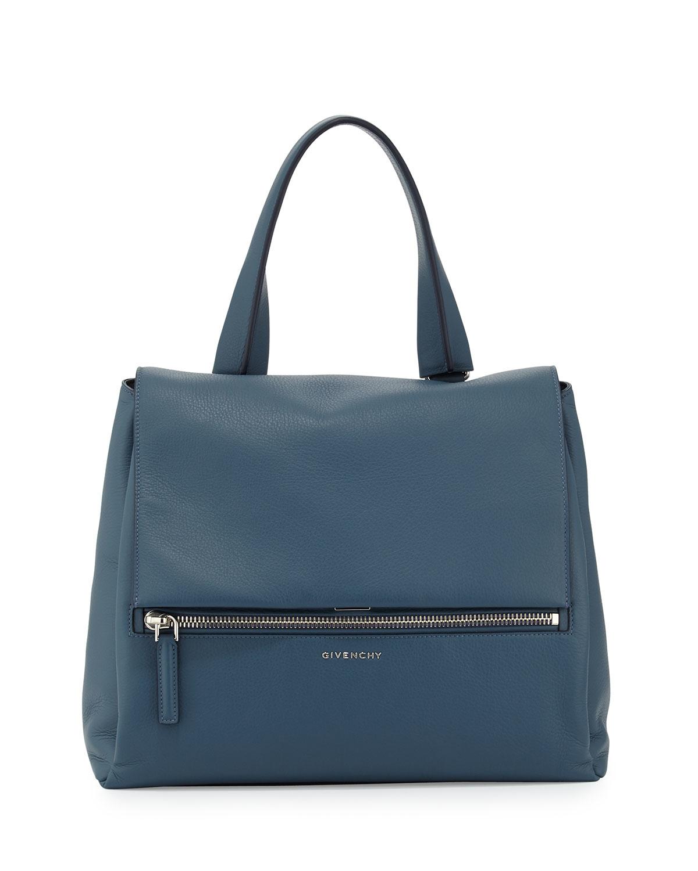 givenchy pandora pure medium leather satchel bag in blue