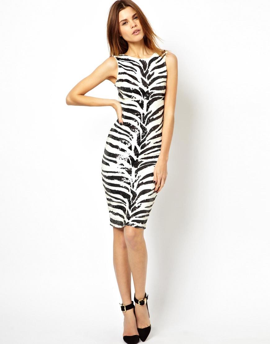 Zebra Print Sequin Dress