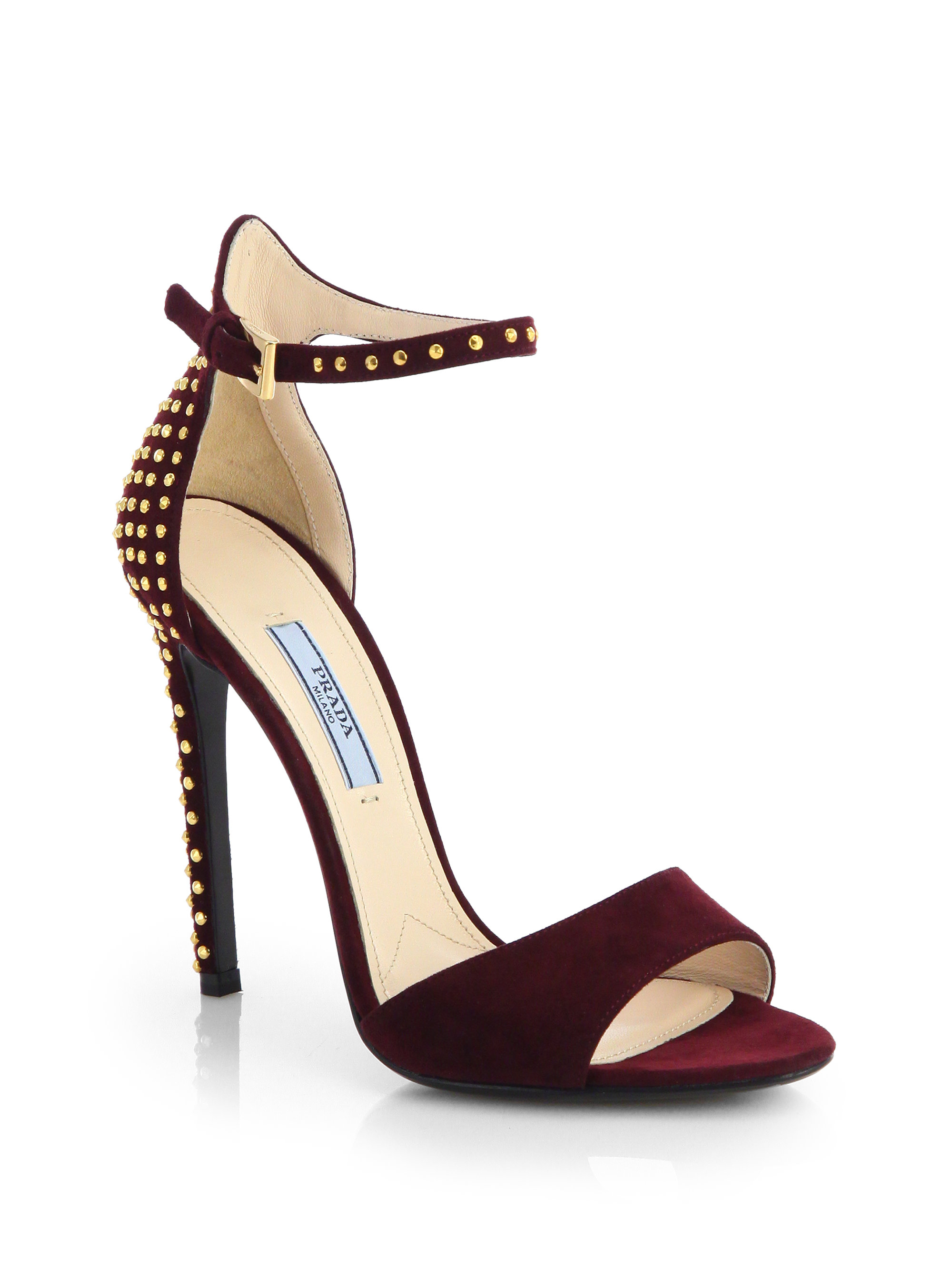 prada studded suede ankle strap sandals in red burgundy lyst. Black Bedroom Furniture Sets. Home Design Ideas