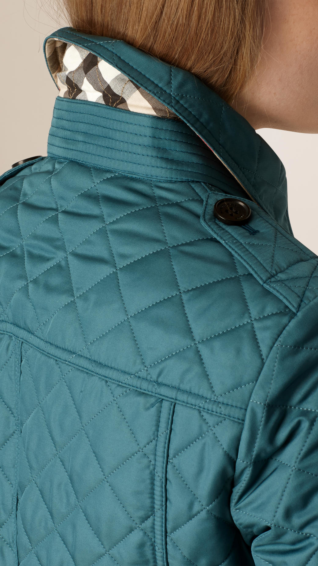 Lyst Burberry Diamond Quilted Shell Jacket In Blue