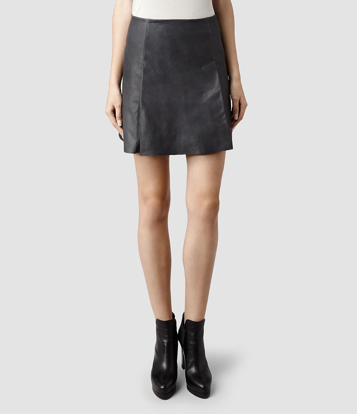 allsaints olvera leather skirt in blue petrol lyst