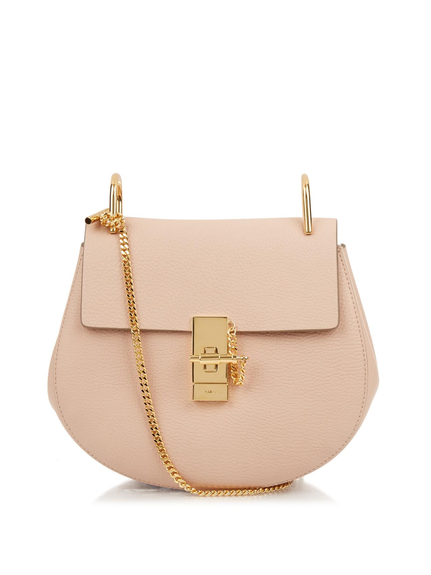 chlo drew small leather shoulder bag in pink light pink. Black Bedroom Furniture Sets. Home Design Ideas