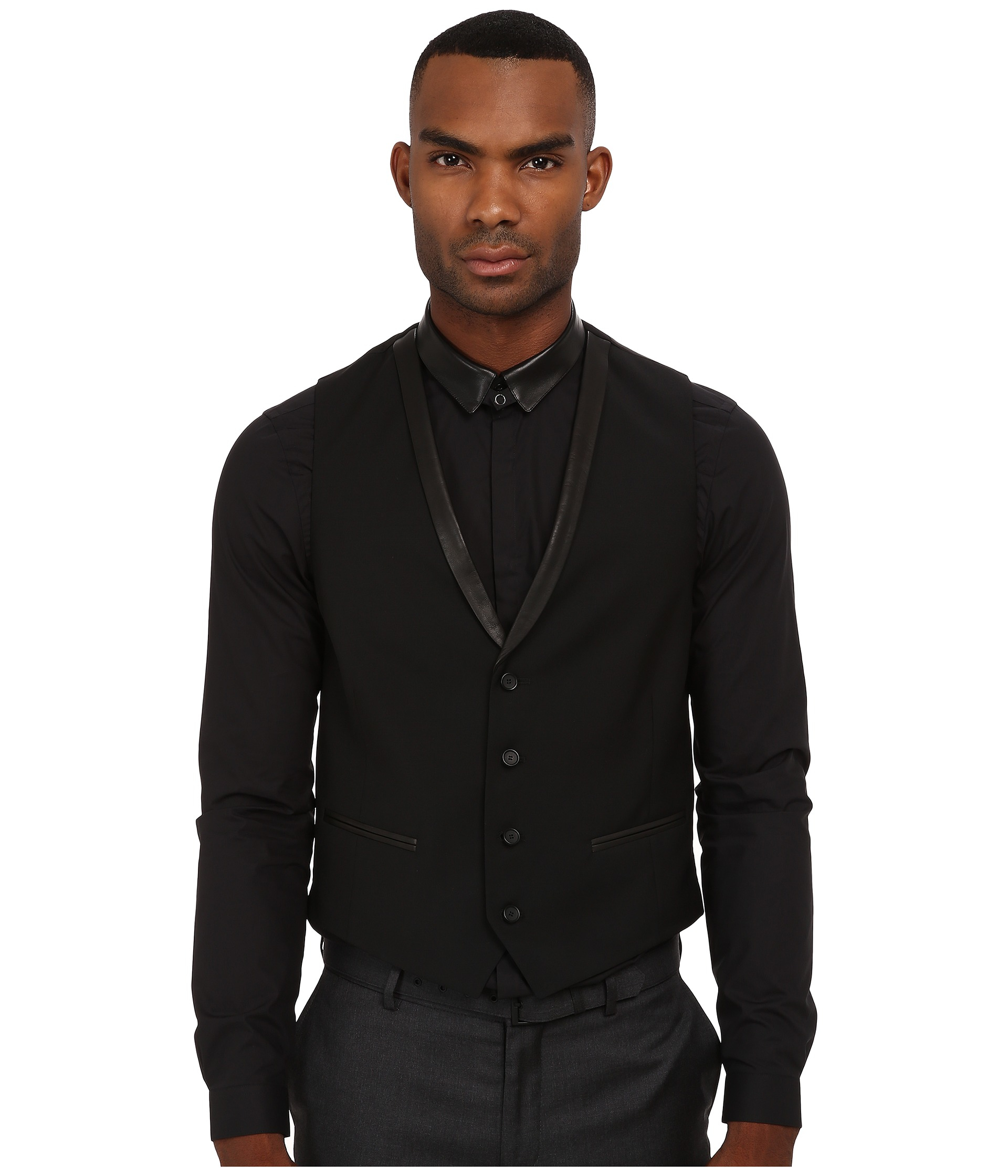 The kooples Mohair Suit Vest W/ Leather Lapel in Black for Men   Lyst