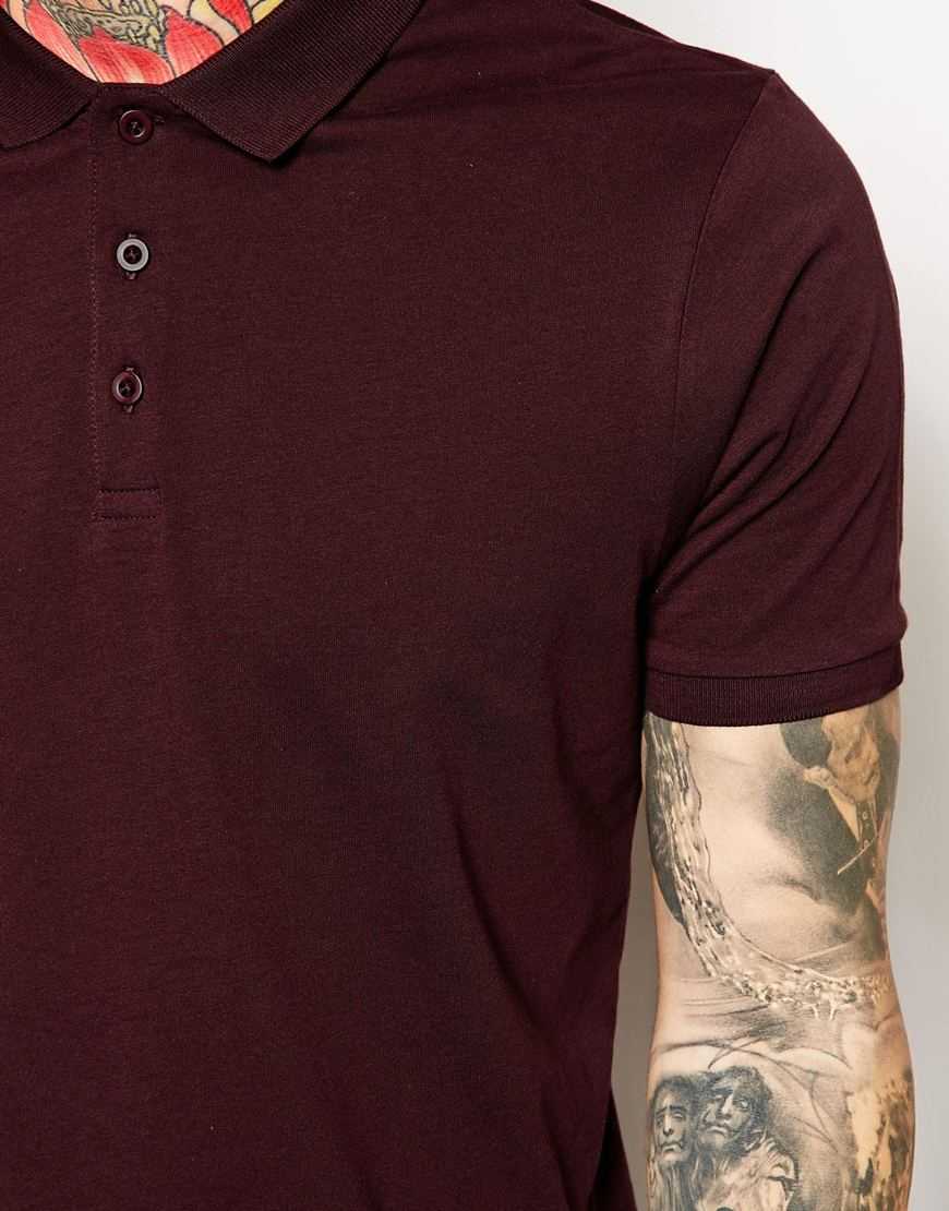 Lyst Asos Polo Shirt In Jersey In Purple For Men