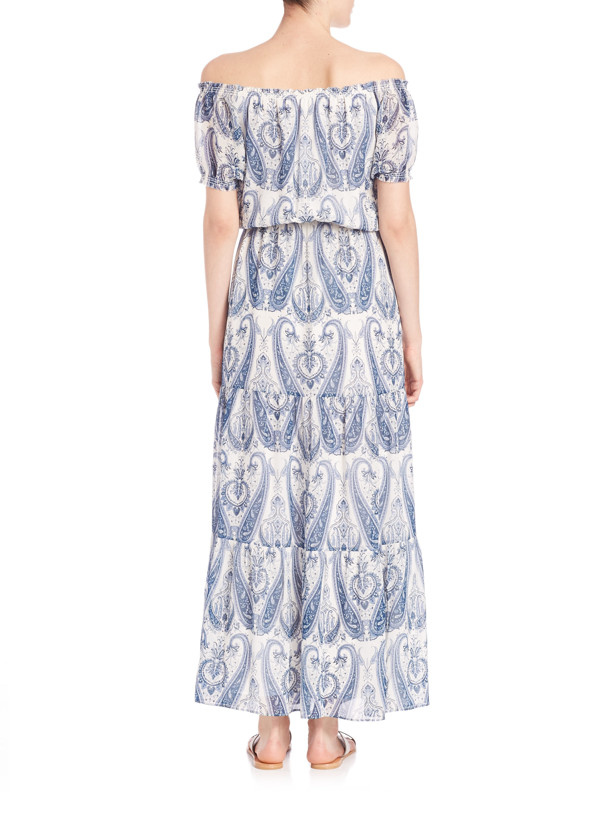 d943fb2e4 Joie Villy Printed Silk Off-the-shoulder Dress in Gray - Lyst