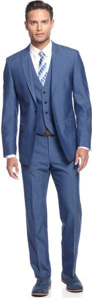 Calvin Klein Medium Blue Vested Slim X Fit Suit in Blue for Men