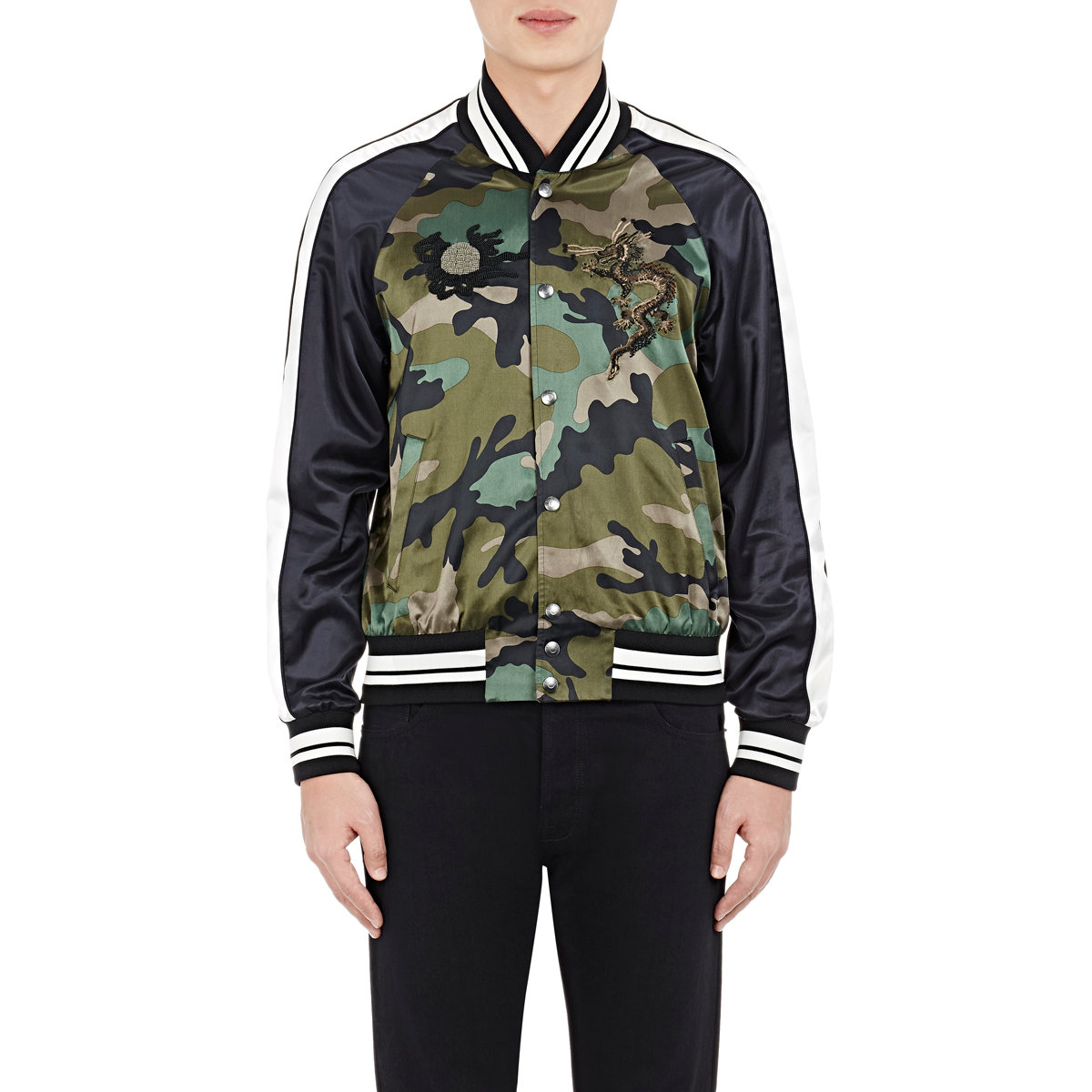 Valentino men s embroidered beaded bomber jacket in