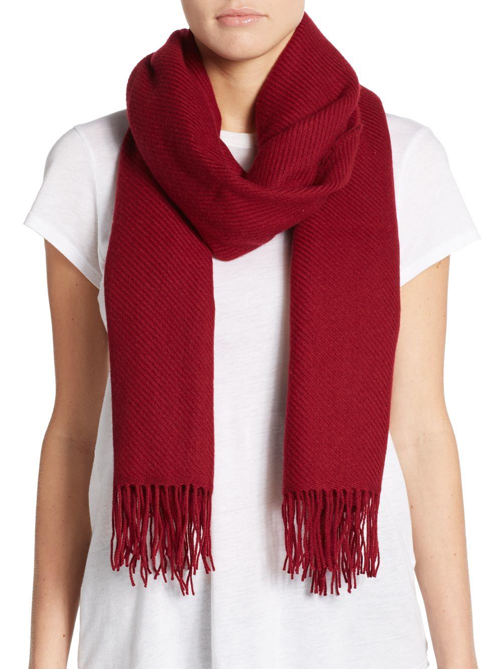 saks fifth avenue blanket fringe wool blend scarf lyst