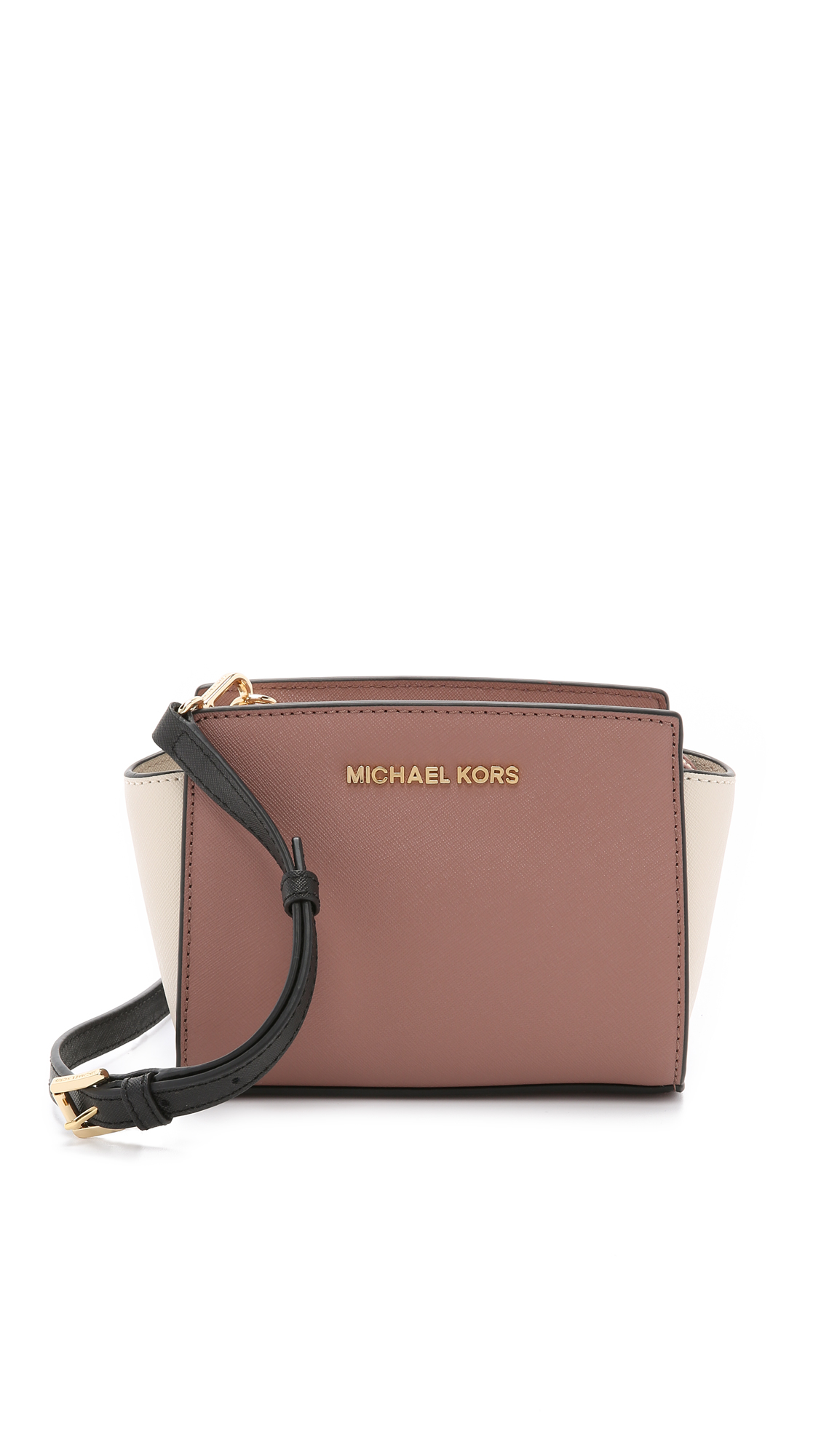 2f115c7192a5 ... cheapest michael michael kors selma mini color blocked cross body bag  in pink 27c98 3879f