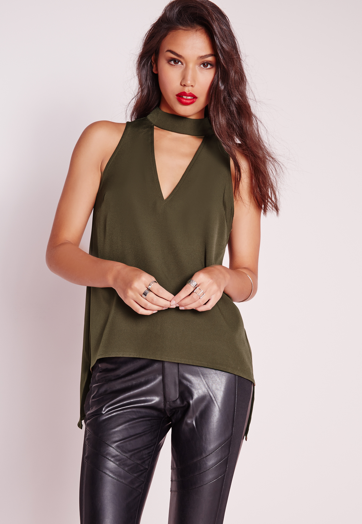 missguided choker cut out cami top khaki in green lyst. Black Bedroom Furniture Sets. Home Design Ideas