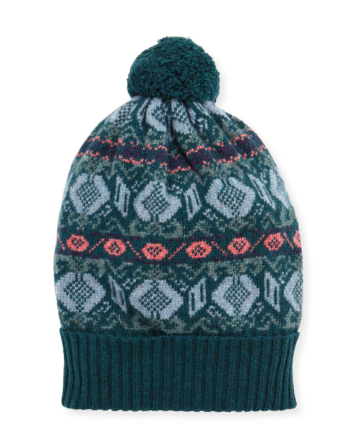 Knitting Pattern For Cashmere Beanie : Brora Fair Isle Cashmere Knit Beanie in Blue Lyst