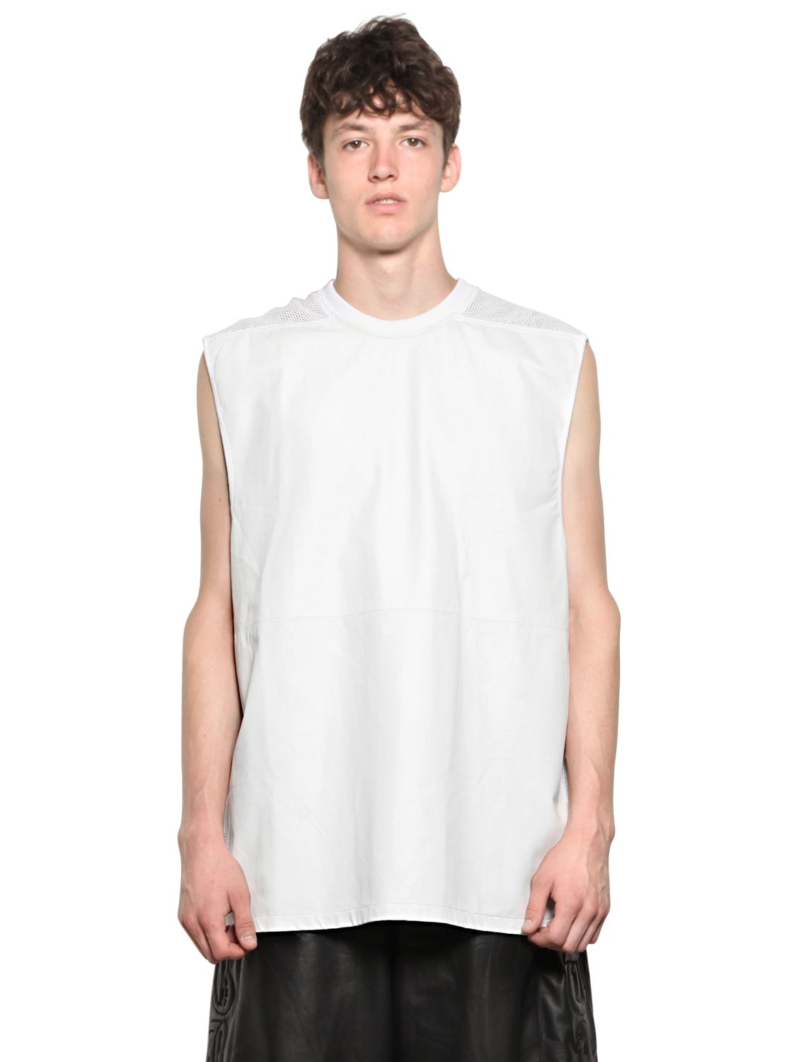 Skingraft nappa leather cotton mesh t shirt in white for for Mens white leather shirt