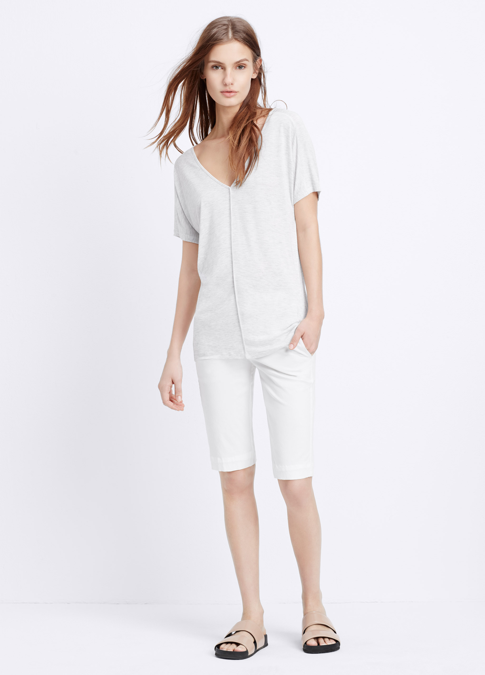 Vince drape short sleeve v neck tee in white lyst for Vince tee shirts sale