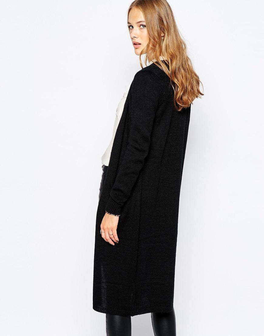 Vila Longline Cardigan in Black | Lyst