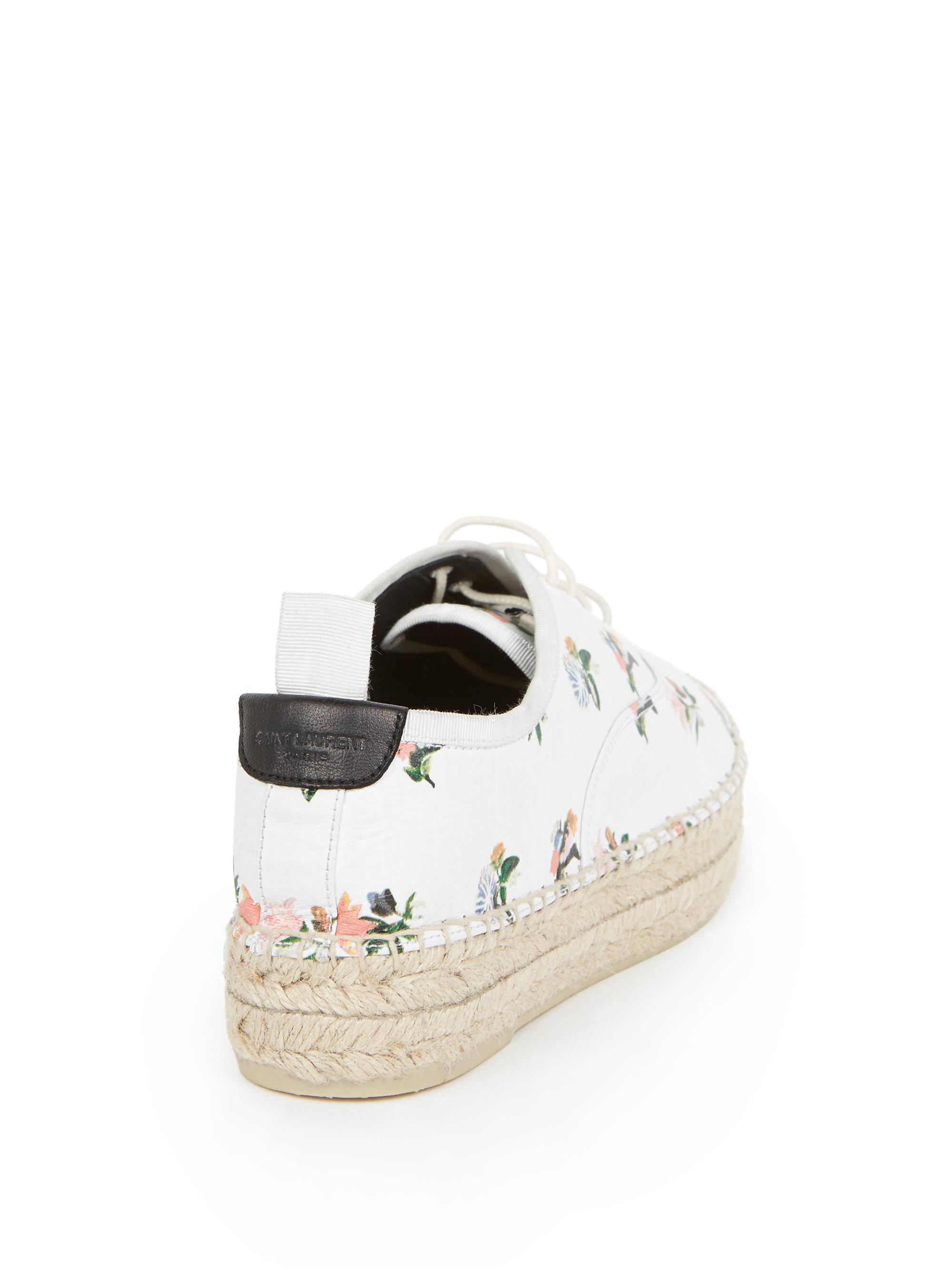 Lyst - Saint Laurent Floral Leather Espadrille Platform Sneakers 32a5b181d606