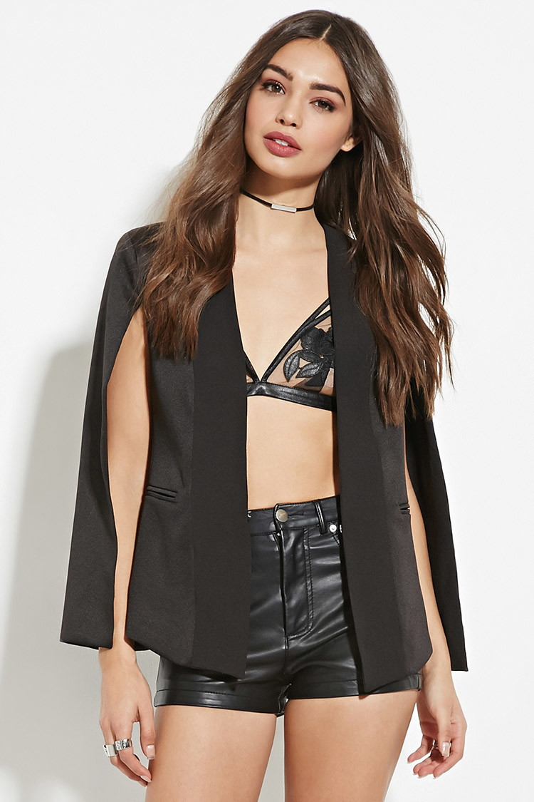 Forever 21 black cape coat