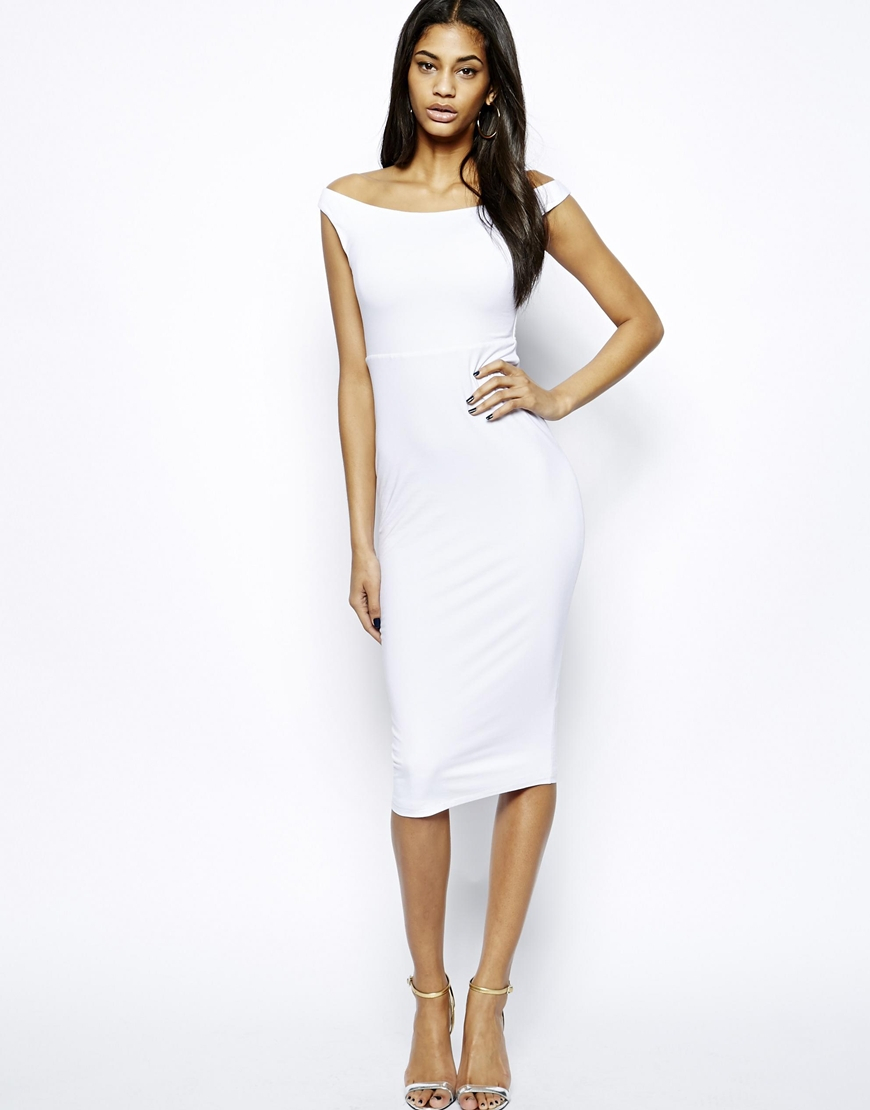 Asos Bardot Bodycon Midi Dress in White | Lyst