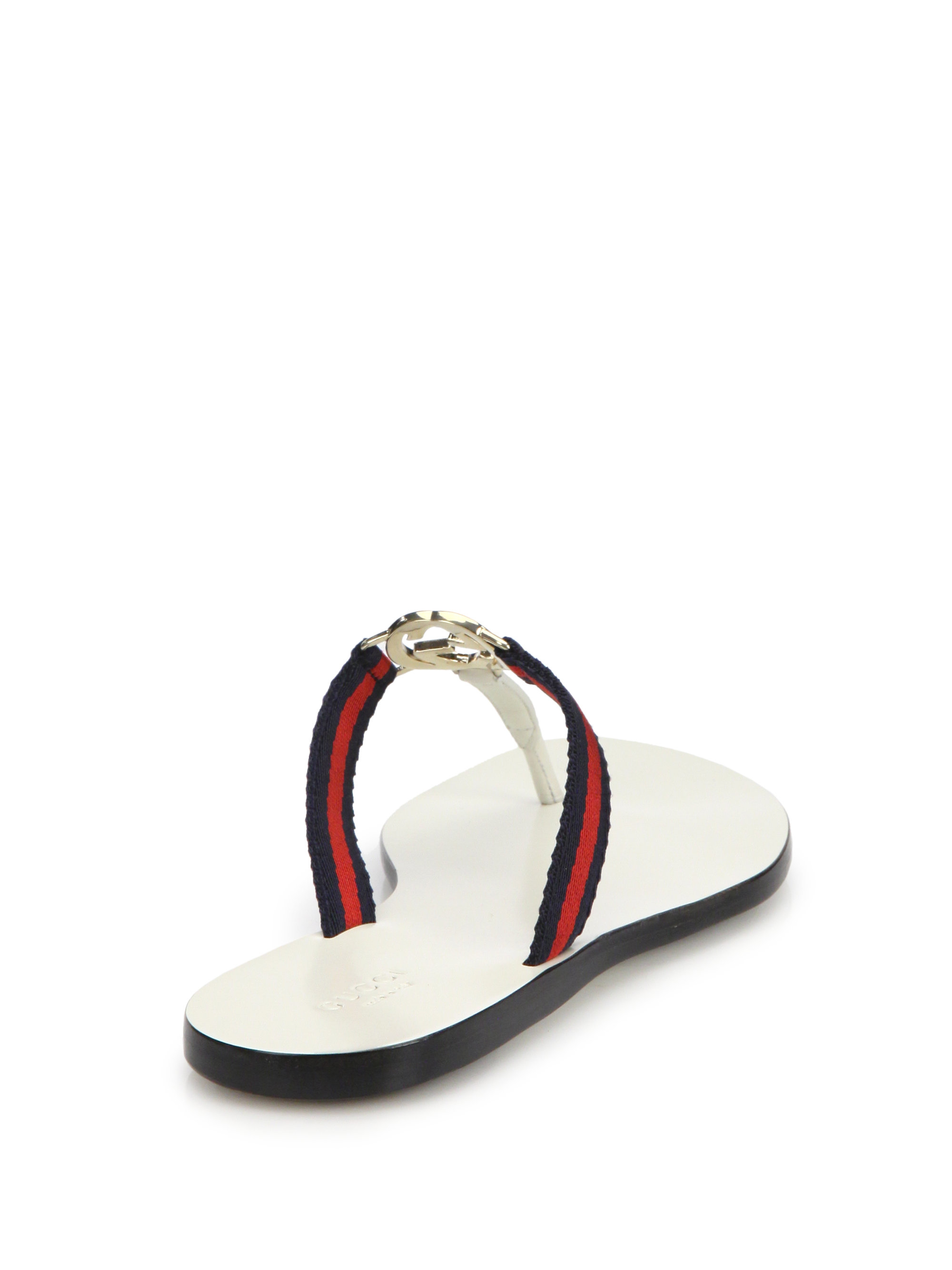 Lyst Gucci New Gg Canvas Leather Signature Thong Sandals In Blue